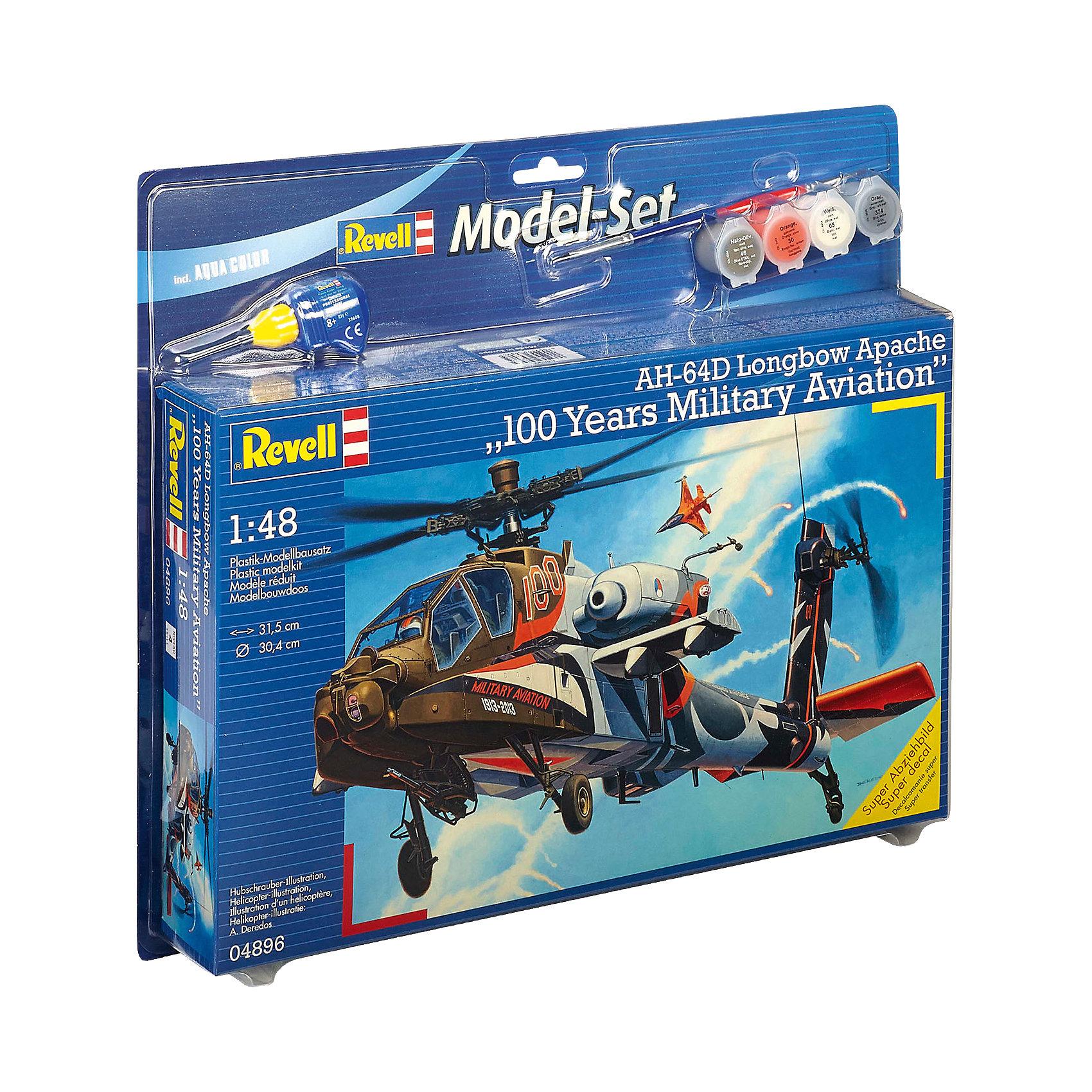 Ударный вертолет Apache 100-Mil, RevellСборные модели транспорта<br>Ударный вертолет Apache 100-Mil, Revell (Ревелл) –  максимально детализированная модель станет украшением комнаты и дополнением коллекции.<br>Голландский ударный вертолёт AH-64D Apache 100-Mil является одним из передовых универсальных и хорошо вооружённых боевых вертолётов в мире. Тщательно проработанная сборная модель голландского вертолёта AH-64D Apache 100-Mil от немецкой компании Revell (Ревелл) представляет собой абсолютно точную уменьшенную копию своего прототипа. Кабина пилота с приборной панелью и рычагом управления аккуратно детализированы, а для большей достоверности в кабине добавлены две фигурки лётчиков в оригинальной форме военно-воздушных сил Нидерландов. Фюзеляж вертолёта имеет фактурную поверхность. Также у знаменитого боевого авиа судна вращаются хвостовой и несущий винты. Всего модель состоит из 136 деталей, которые необходимо собрать, склеить и покрыть краской в соответствии с инструкцией. В наборе прилагаются клей в удобной упаковке, краски, кисточка, а также уникальный набор наклеек, в который включены все декоративные элементы, специально разработанные для сольных показов вертолёта AH-64D Apache 100-Mil ко дню столетия военно-воздушных сил Нидерландов. Разработанная для детей от 10 лет, сборная модель голландского ударного вертолёта AH-64D Apache 100-Mil, несомненно, обрадует и взрослых поклонников моделирования и коллекционеров военной техники. Моделирование считается одним из наиболее полезных хобби, ведь оно развивает интеллектуальные и инструментальные способности, воображение и конструктивное мышление.<br><br>Дополнительная информация:<br><br>- Возраст: для детей старше 10-и лет<br>- В наборе: комплект пластиковых деталей для сборки модели, декаль (наклейки), набор красок, кисточка, клей, резиновые покрышки, схема для окрашивания модели, подробная инструкция<br>- Количество деталей: 136 шт.<br>- Масштаб: 1:48<br>- Длина модели: 315 мм.<br>- Размах лопастей: 304 мм.<br>- У