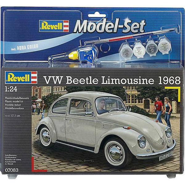 Автомобиль VW Beetle Limousine, RevellАвтомобили<br>Автомобиль VW Beetle Limousine, Revell (Ревелл) – максимально детализированная модель станет украшением комнаты и дополнением коллекции.<br>Автомобиль VW Beetle Limousine 68 для бесчисленного количества людей был самым первым автомобилем. В конструкцию автомобиля постоянно вносились улучшения для сохранения его конкурентоспособности. И к 1968 году, VW Beetle Limousine достиг такого стандарта, который удерживал его впереди конкурентов многие годы. Сборная модель лимузина Фольксваген Битли является абсолютно точной уменьшенной копией своего прототипа. Модель состоит из 125 деталей, которые необходимо собрать, склеить и покрыть краской в соответствии с инструкцией. В наборе также прилагаются клей в удобной упаковке, краски и кисточка. Модель тщательно проработана. Оригинальный кузов выполнен в мельчайших подробностях, а интерьер машины с подлинной приборной панелью, отдельными передними сиденьями и одним задним превосходно детализированы. Модель может быть собрана как леворульной, так и праворульной. Макет автомобиля имеет вращающиеся колёса, которые выглядят совсем как настоящие, открывающуюся крышку капота, под которой располагается высокодетализированный четырёхцилиндровый двигатель. А для ещё большей достоверности, некоторые части модели хромированы. Разработанная для детей от 10 лет, сборная модель VW Beetle Limousine, определённо, принесёт массу положительных эмоций и взрослым любителям моделирования. Моделирование считается одним из наиболее полезных хобби, ведь оно развивает интеллектуальные и инструментальные способности, воображение и конструктивное мышление.<br><br>Дополнительная информация:<br><br>- Возраст: для детей старше 10-и лет<br>- В наборе: комплект пластиковых деталей для сборки модели, декаль (наклейки), набор красок, кисточка, клей, резиновые покрышки, схема для окрашивания модели, инструкция<br>- Количество деталей: 125 шт.<br>- Масштаб: 1:24<br>- Длина модели: 171 мм.<br>- Уровень сложности: 3