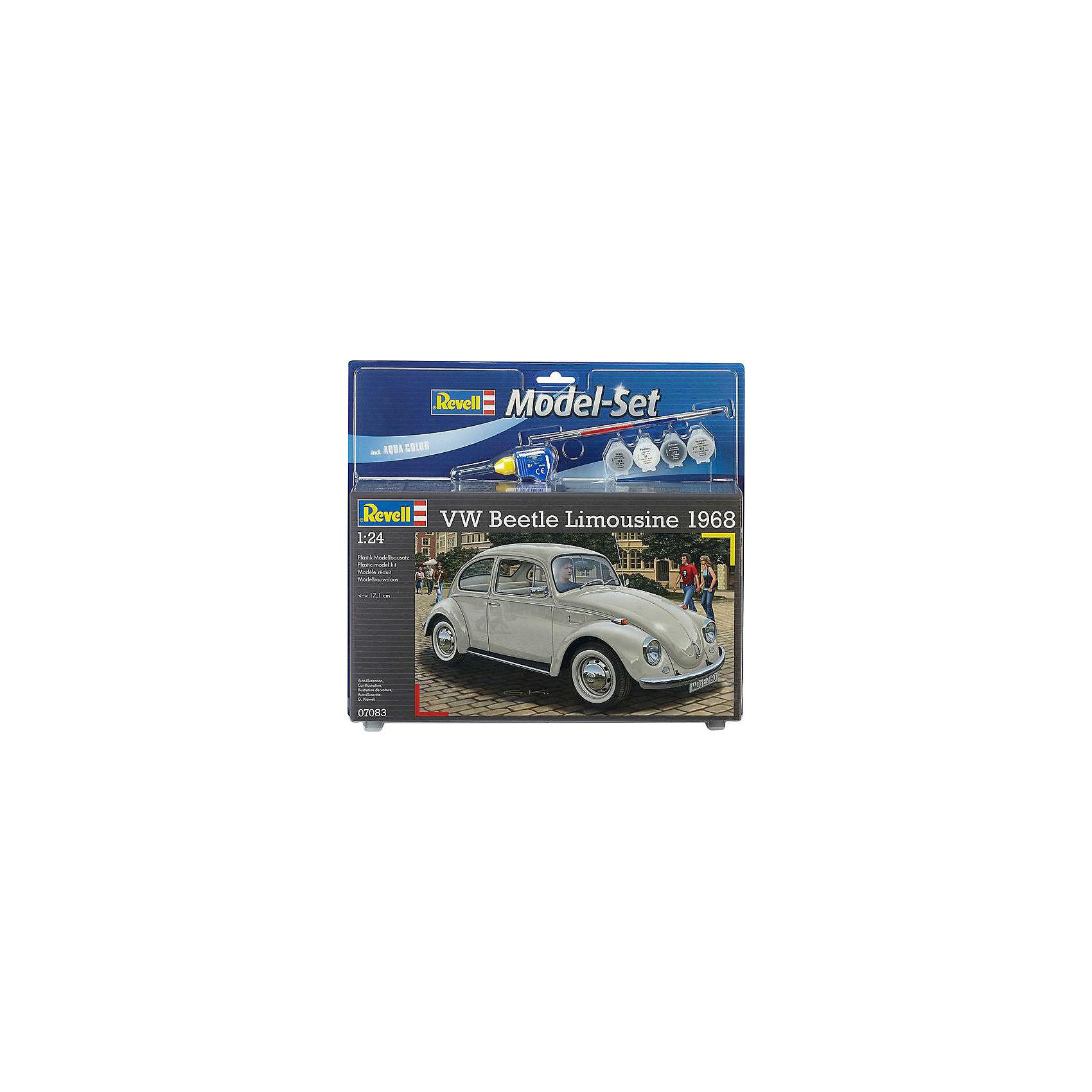 Автомобиль VW Beetle Limousine, RevellСборные модели транспорта<br>Автомобиль VW Beetle Limousine, Revell (Ревелл) – максимально детализированная модель станет украшением комнаты и дополнением коллекции.<br>Автомобиль VW Beetle Limousine 68 для бесчисленного количества людей был самым первым автомобилем. В конструкцию автомобиля постоянно вносились улучшения для сохранения его конкурентоспособности. И к 1968 году, VW Beetle Limousine достиг такого стандарта, который удерживал его впереди конкурентов многие годы. Сборная модель лимузина Фольксваген Битли является абсолютно точной уменьшенной копией своего прототипа. Модель состоит из 125 деталей, которые необходимо собрать, склеить и покрыть краской в соответствии с инструкцией. В наборе также прилагаются клей в удобной упаковке, краски и кисточка. Модель тщательно проработана. Оригинальный кузов выполнен в мельчайших подробностях, а интерьер машины с подлинной приборной панелью, отдельными передними сиденьями и одним задним превосходно детализированы. Модель может быть собрана как леворульной, так и праворульной. Макет автомобиля имеет вращающиеся колёса, которые выглядят совсем как настоящие, открывающуюся крышку капота, под которой располагается высокодетализированный четырёхцилиндровый двигатель. А для ещё большей достоверности, некоторые части модели хромированы. Разработанная для детей от 10 лет, сборная модель VW Beetle Limousine, определённо, принесёт массу положительных эмоций и взрослым любителям моделирования. Моделирование считается одним из наиболее полезных хобби, ведь оно развивает интеллектуальные и инструментальные способности, воображение и конструктивное мышление.<br><br>Дополнительная информация:<br><br>- Возраст: для детей старше 10-и лет<br>- В наборе: комплект пластиковых деталей для сборки модели, декаль (наклейки), набор красок, кисточка, клей, резиновые покрышки, схема для окрашивания модели, инструкция<br>- Количество деталей: 125 шт.<br>- Масштаб: 1:24<br>- Длина модели: 171 мм.<br>- Урове
