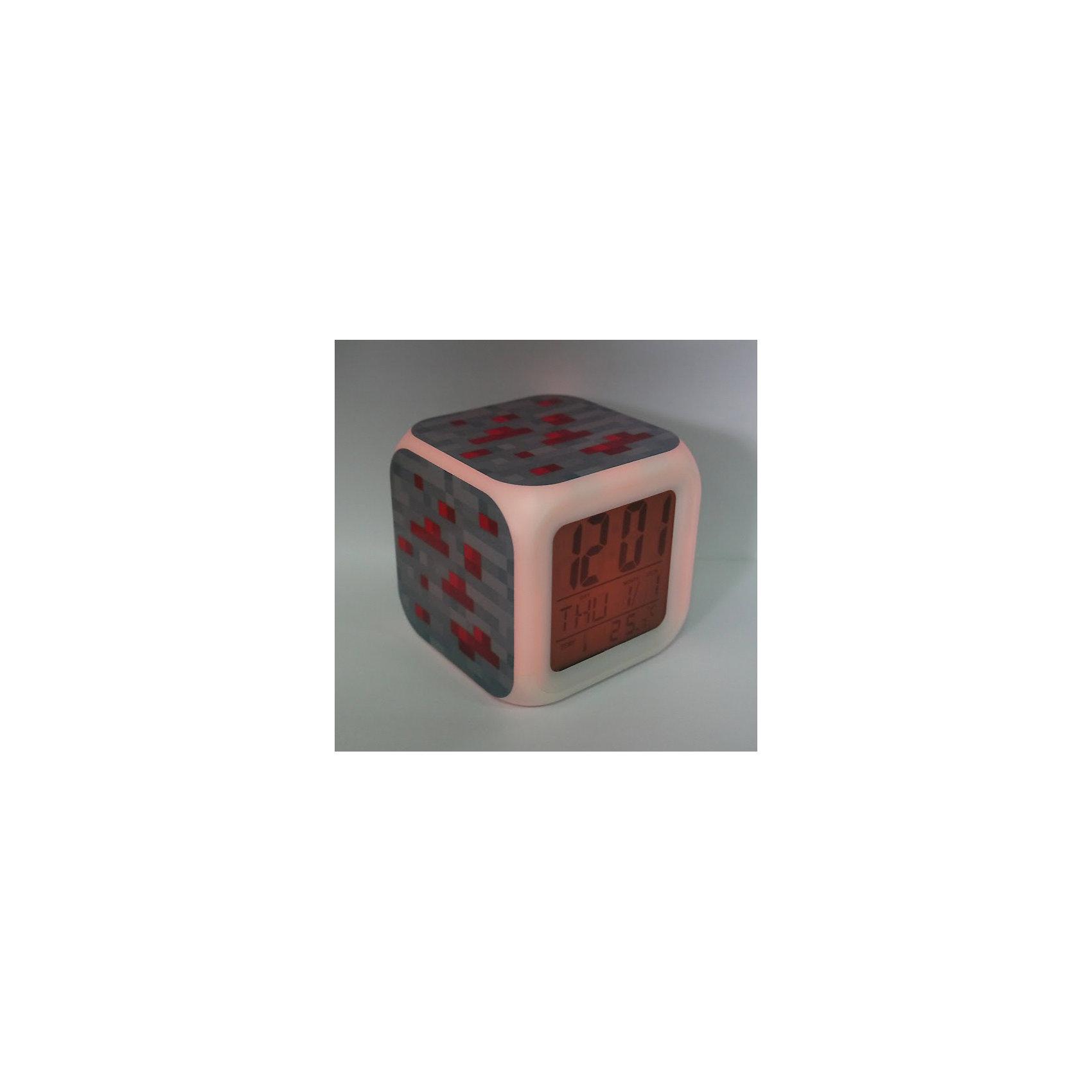 Часы-будильник Блок красной руды с подсветкойЧасы создающие настроение.  Это – светильник, часы, будильник. Семь оттенков мягкой подсветки, термометр и календарь. Все данные отображаются на ЖК-дисплее.<br>Питание: 4 элемента типа ААА. (входят в комплект)<br><br>Ширина мм: 95<br>Глубина мм: 95<br>Высота мм: 95<br>Вес г: 200<br>Возраст от месяцев: 36<br>Возраст до месяцев: 216<br>Пол: Унисекс<br>Возраст: Детский<br>SKU: 4173239