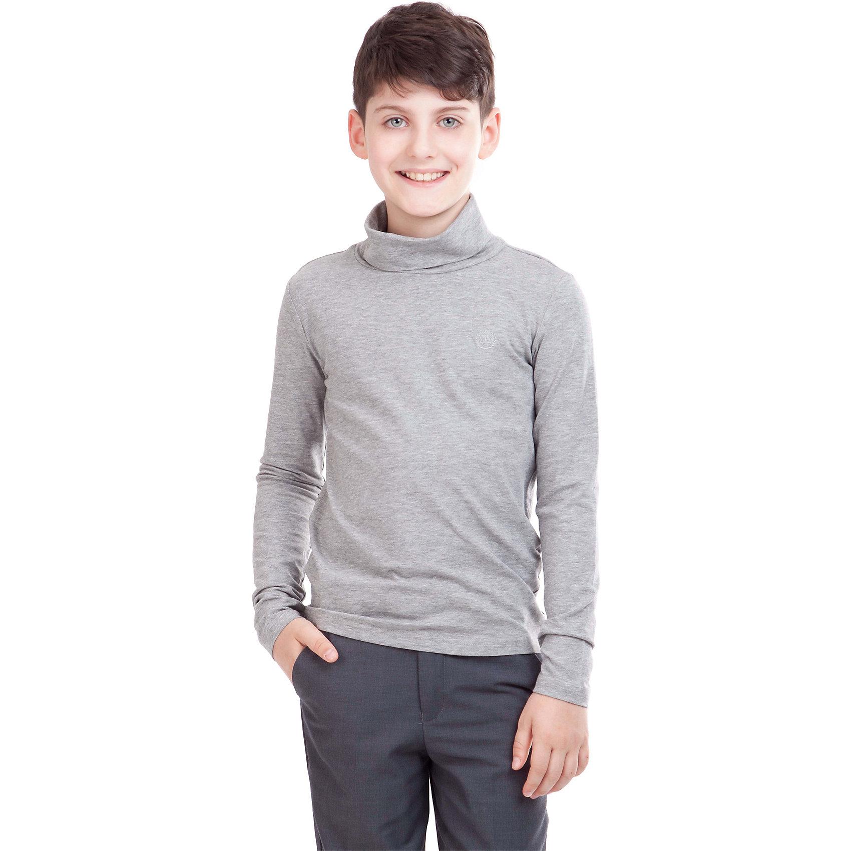 Водолазка для мальчика GulliverВодолазка для мальчика от российского бренда Gulliver.<br>Водолазка на каждый день должна быть удобной и практичной,  ведь это базовая вещь в гардеробе ребенка. Трикотажное полотно с эластаном обеспечивает комфортное прилегание к фигуре и комфорт в носке.<br>Состав:<br>95% хлопок        5% эластан<br><br>Ширина мм: 230<br>Глубина мм: 40<br>Высота мм: 220<br>Вес г: 250<br>Цвет: серый<br>Возраст от месяцев: 144<br>Возраст до месяцев: 156<br>Пол: Мужской<br>Возраст: Детский<br>Размер: 158,128,122,134,140,146,152<br>SKU: 4174502
