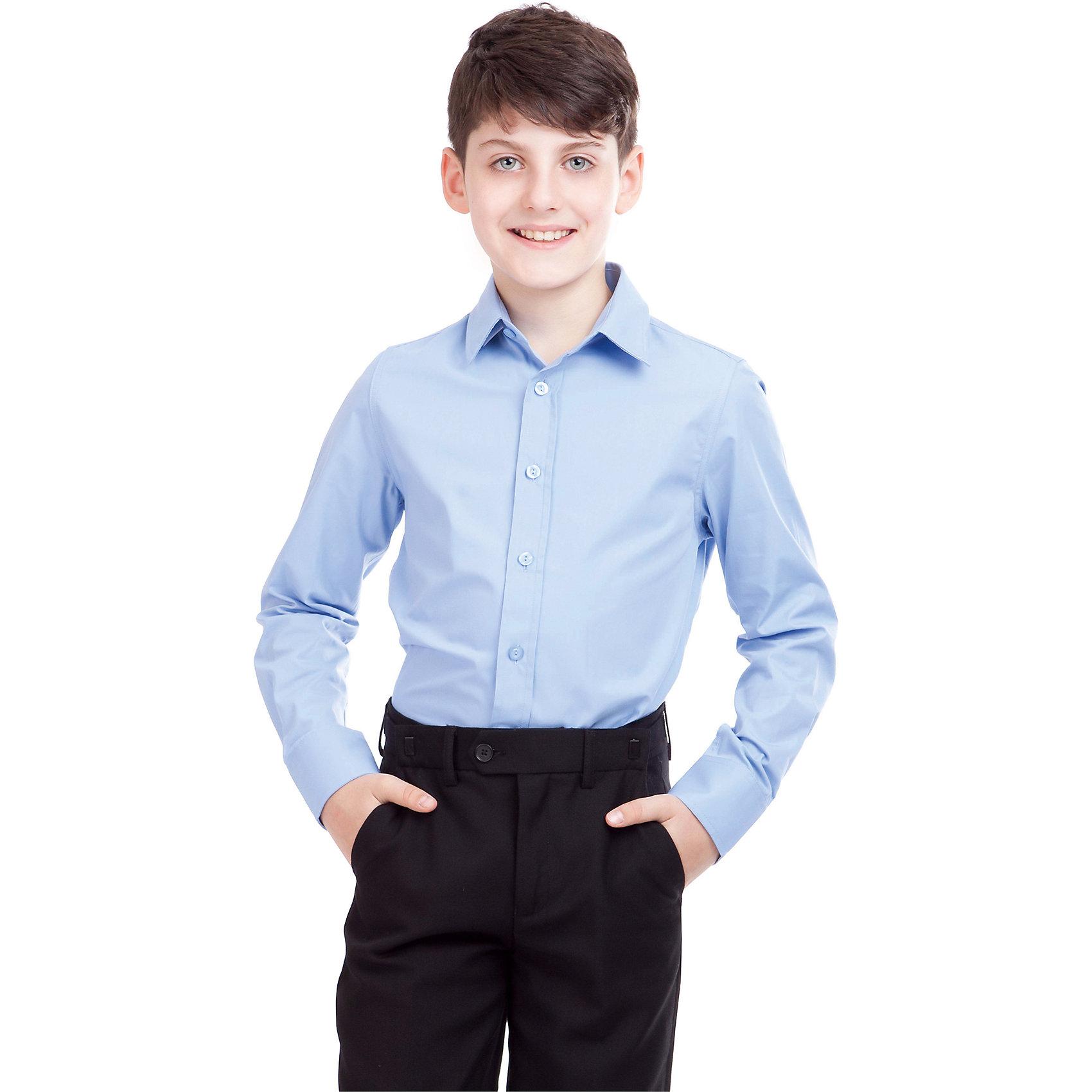 Рубашка для мальчика GulliverРубашка для мальчика от российского бренда Gulliver.<br>Классическая голубая рубашка - достойное дополнение к строгому школьному костюму. Ребенок в ней  - настоящий мужчина,  с серьезным и ответственным подходом к делу.  Современный крой обеспечивает прекрасную посадку изделия на фигуре.<br>Состав:<br>80%Хлопок 20%Полиэстер<br><br>Ширина мм: 174<br>Глубина мм: 10<br>Высота мм: 169<br>Вес г: 157<br>Цвет: голубой<br>Возраст от месяцев: 144<br>Возраст до месяцев: 156<br>Пол: Мужской<br>Возраст: Детский<br>Размер: 158,164,128,146,122,134,140,152<br>SKU: 4174510