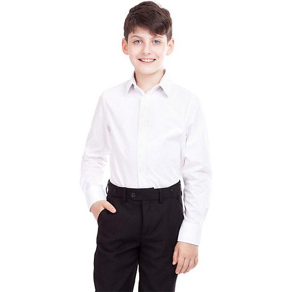Рубашка для мальчика GulliverБлузки и рубашки<br>Рубашка для мальчика от российского бренда Gulliver.<br>Классическая белая рубашка - достойное дополнение к строгому школьному костюму. Ребенок в ней  - настоящий мужчина,  с серьезным и ответственным подходом к делу.  Современный крой обеспечивает прекрасную посадку изделия на фигуре.<br>Состав:<br>80%Хлопок 20%Полиэстер<br>Ширина мм: 174; Глубина мм: 10; Высота мм: 169; Вес г: 157; Цвет: белый; Возраст от месяцев: 108; Возраст до месяцев: 120; Пол: Мужской; Возраст: Детский; Размер: 140,164,128,122,134,146,152,158; SKU: 4174518;
