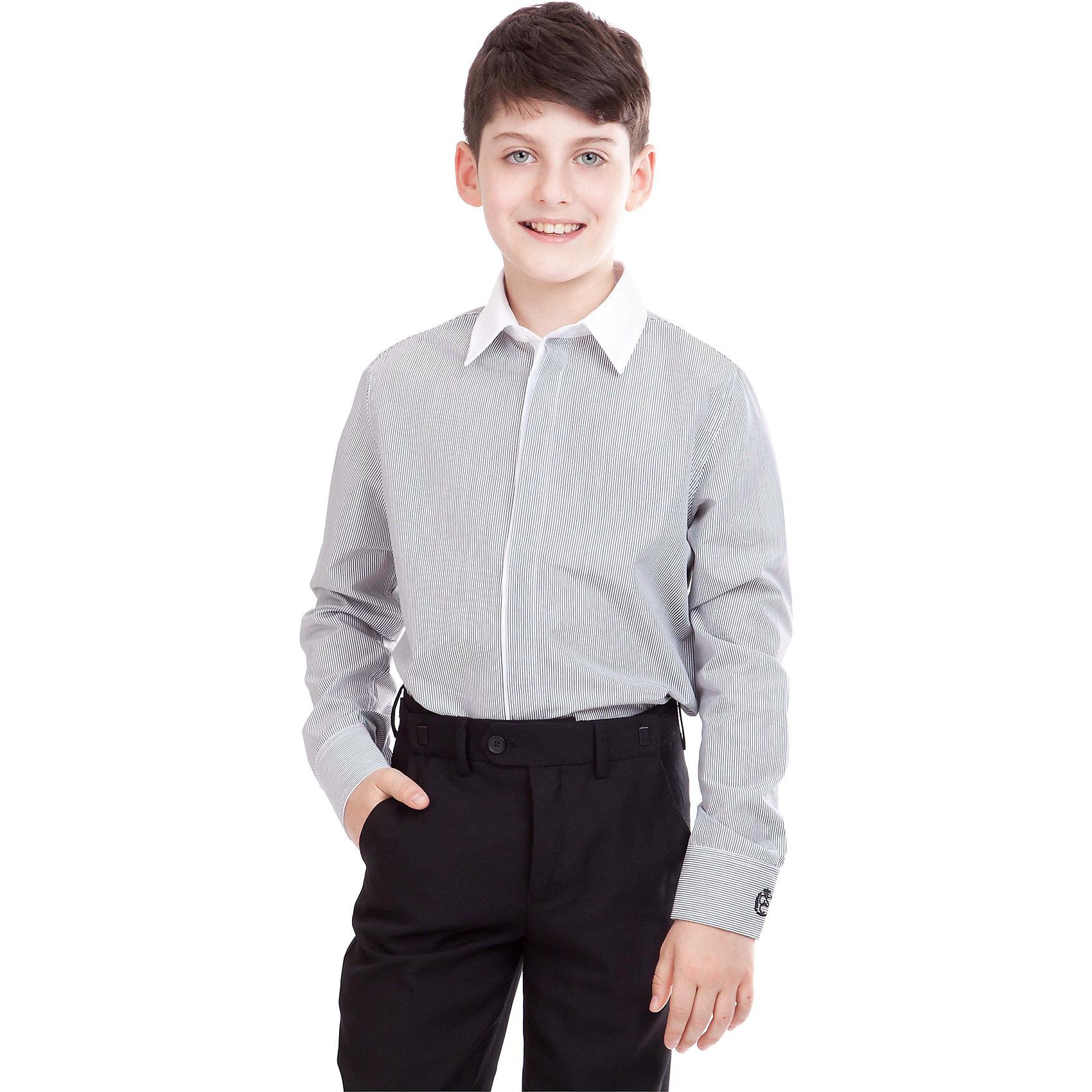 Рубашка для мальчика GulliverБлузки и рубашки<br>Рубашка для мальчика от российского бренда Gulliver.<br>Классическая рубашка с интересным орнаментом разнообразит будни школьника. Ведь так хочется выглядеть стильно, соблюдая при этом школьный дресс-код.  Ее украшает двойной воротник, внутренняя контрастная отделка стойки, манжет и планки.<br>Состав:<br>100% Хлопок<br><br>Ширина мм: 174<br>Глубина мм: 10<br>Высота мм: 169<br>Вес г: 157<br>Цвет: серый<br>Возраст от месяцев: 156<br>Возраст до месяцев: 168<br>Пол: Мужской<br>Возраст: Детский<br>Размер: 122,140,158,152,146,134,128,164<br>SKU: 4174526