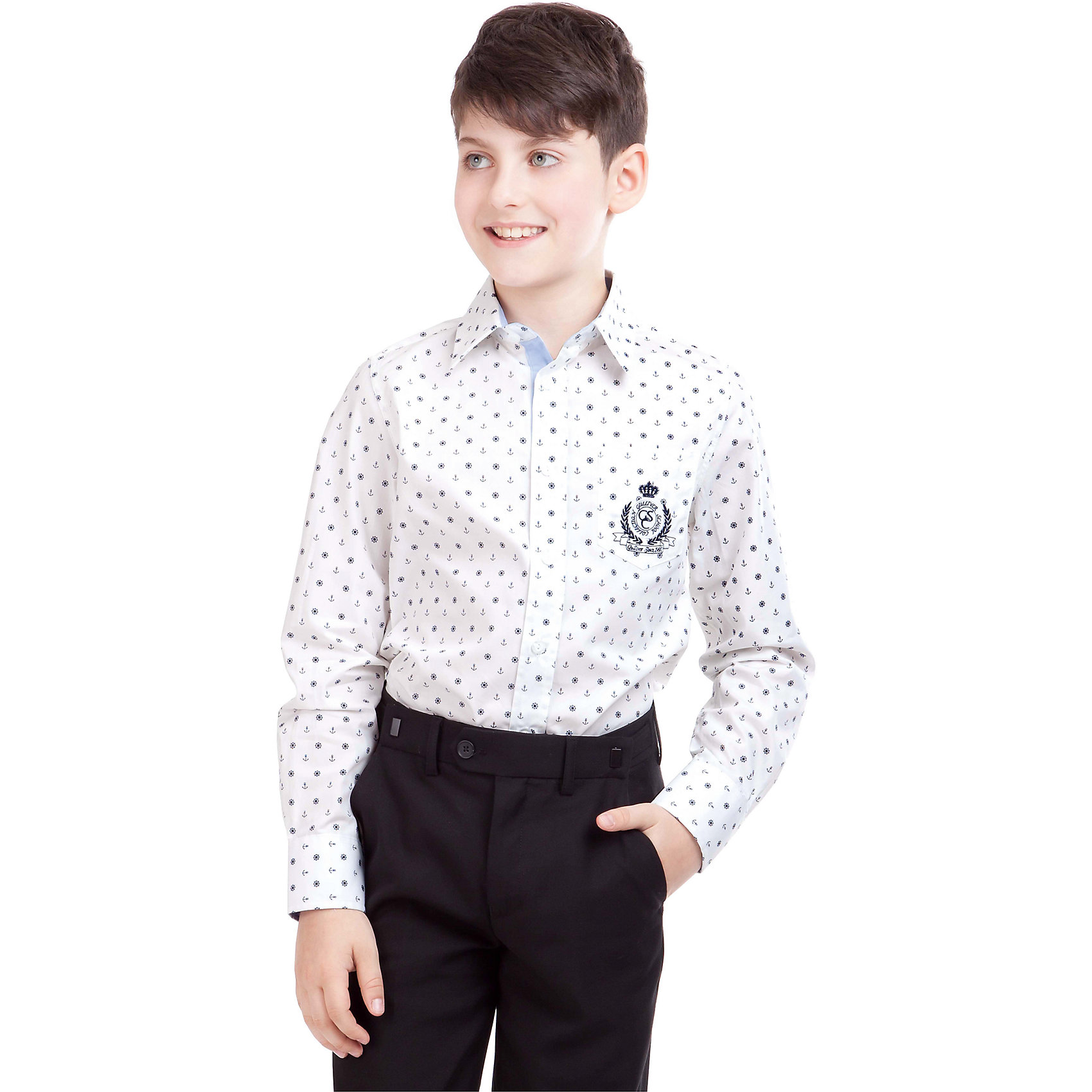 Рубашка для мальчика GulliverБлузки и рубашки<br>Рубашка для мальчика от российского бренда Gulliver.<br>Классическая рубашка с интересным орнаментом разнообразит будни школьника. Ведь так хочется выглядеть стильно, соблюдая при этом школьный дресс-код.  Ее украшает внутренняя контрастная отделка воротника, манжет и планки, а также лаконичная вышивка и шеврон с монограммой GSC (Gulliver School Collection).<br>Состав:<br>100% Хлопок<br><br>Ширина мм: 174<br>Глубина мм: 10<br>Высота мм: 169<br>Вес г: 157<br>Цвет: белый<br>Возраст от месяцев: 72<br>Возраст до месяцев: 84<br>Пол: Мужской<br>Возраст: Детский<br>Размер: 122,164,146,152,158,140,128,134<br>SKU: 4174534