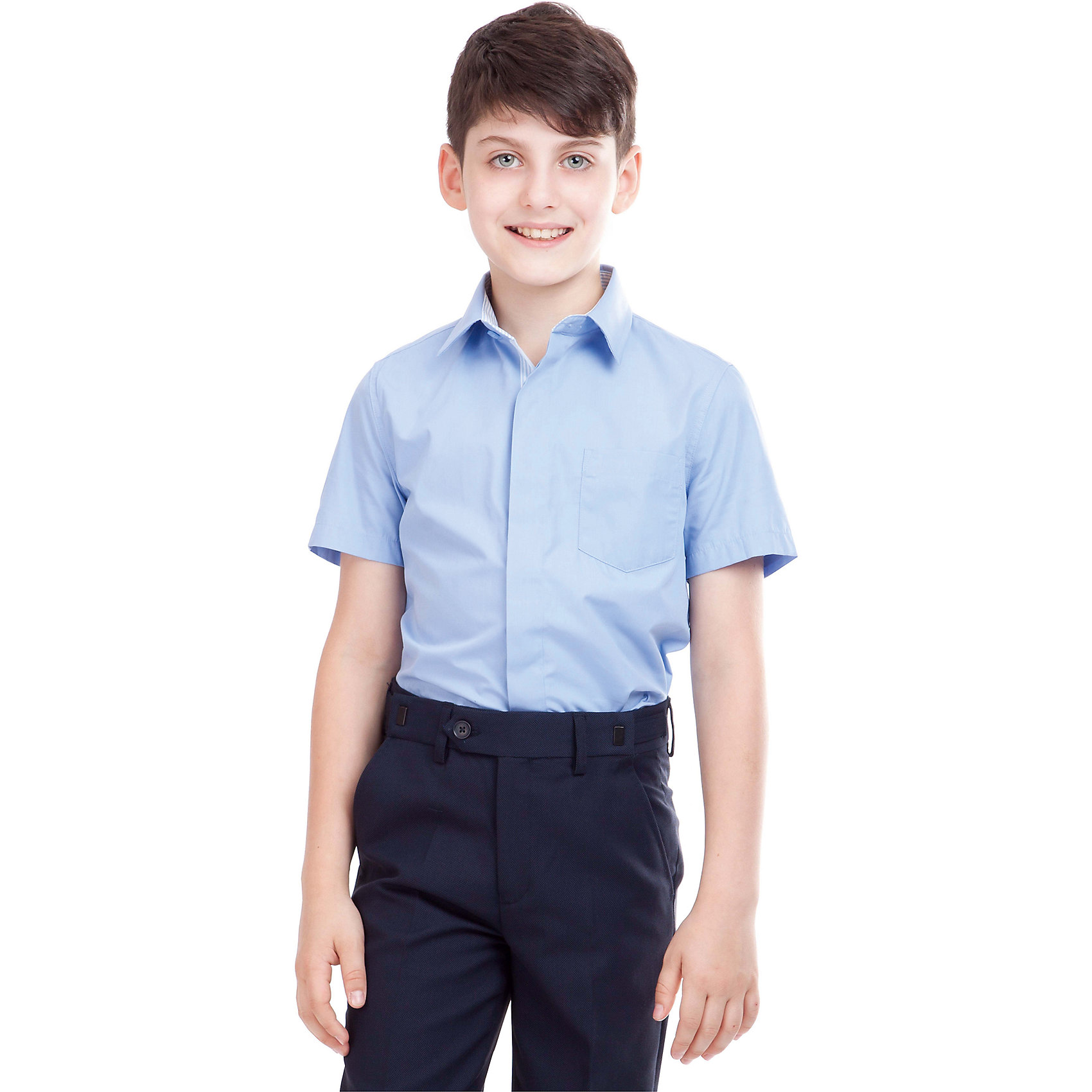 Рубашка для мальчика GulliverРубашка для мальчика от российского бренда Gulliver.<br>Классическая белая рубашка с коротким рукавом должна быть и в зимнем гардеробе школьника, ведь в школе бывает очень жарко.  Современный крой обеспечивает прекрасную посадку изделия на фигуре.<br>Состав:<br>80%Хлопок 20%Полиэстер<br><br>Ширина мм: 174<br>Глубина мм: 10<br>Высота мм: 169<br>Вес г: 157<br>Цвет: голубой<br>Возраст от месяцев: 72<br>Возраст до месяцев: 84<br>Пол: Мужской<br>Возраст: Детский<br>Размер: 122,164,128,134,140,146,152,158<br>SKU: 4174542