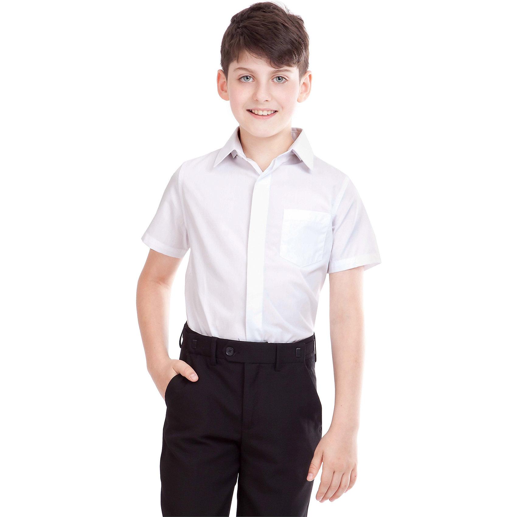 Рубашка для мальчика GulliverБлузки и рубашки<br>Рубашка для мальчика от российского бренда Gulliver.<br>Классическая белая рубашка с коротким рукавом должна быть и в зимнем гардеробе школьника, ведь в школе бывает очень жарко.  Современный крой обеспечивает прекрасную посадку изделия на фигуре.<br>Состав:<br>80%Хлопок 20%Полиэстер<br><br>Ширина мм: 174<br>Глубина мм: 10<br>Высота мм: 169<br>Вес г: 157<br>Цвет: белый<br>Возраст от месяцев: 108<br>Возраст до месяцев: 120<br>Пол: Мужской<br>Возраст: Детский<br>Размер: 140,164,158,152,146,134,128,122<br>SKU: 4174550