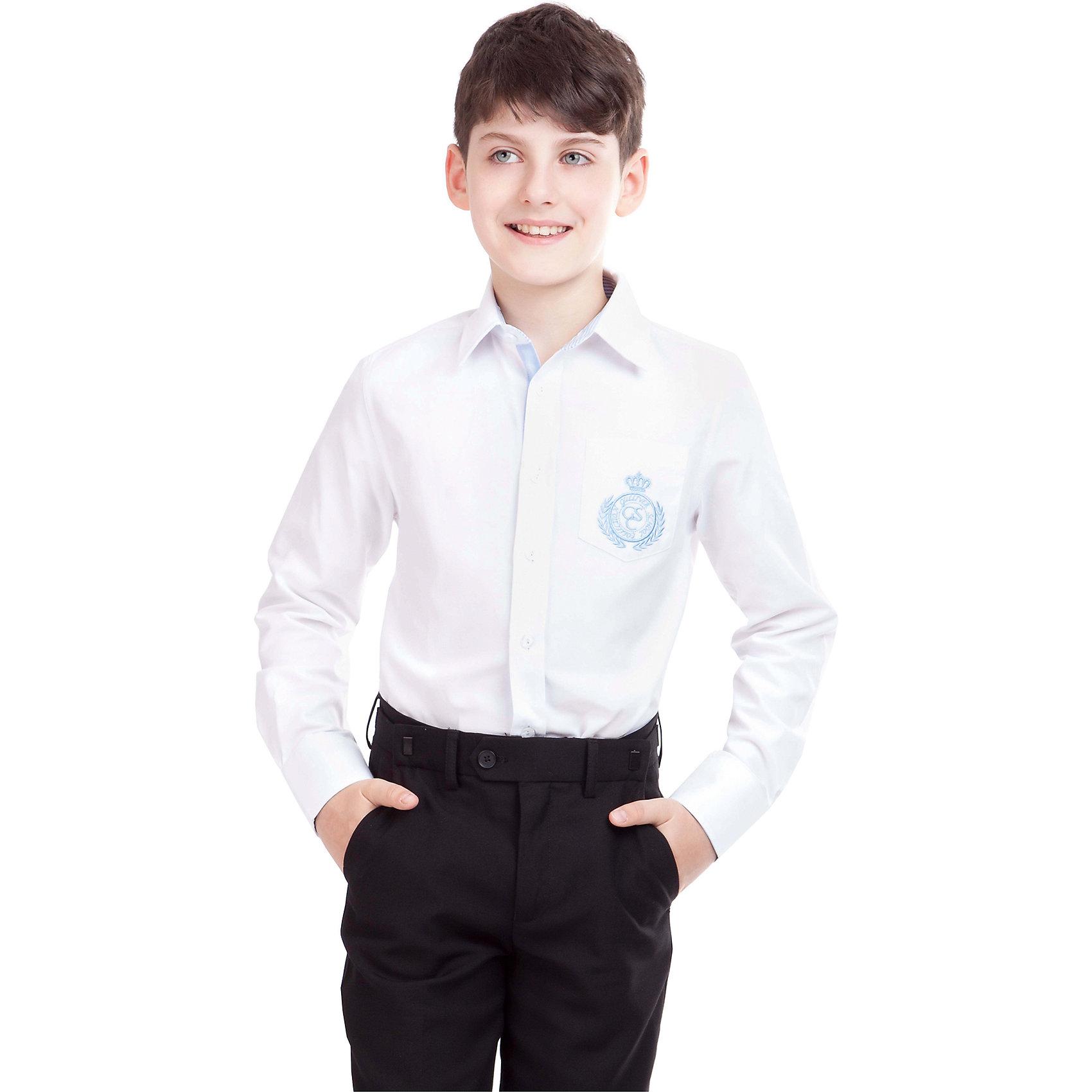 Рубашка для мальчика GulliverРубашка для мальчика от российского бренда Gulliver.<br>Классическая белая рубашка имеет интересные индивидуальные черты благодаря декоративным деталям, которые позволят выглядеть школьнику весьма оригинально: настрочные налокотники, контрастная отделка стойки, манжет и планки, а также лаконичная вышивка и шеврон с монограммой GSC (Gulliver School Collection).<br>Состав:<br>80%Хлопок 20%Полиэстер<br><br>Ширина мм: 174<br>Глубина мм: 10<br>Высота мм: 169<br>Вес г: 157<br>Цвет: белый/голубой<br>Возраст от месяцев: 96<br>Возраст до месяцев: 108<br>Пол: Мужской<br>Возраст: Детский<br>Размер: 134,140,128,122,164,152,158,146<br>SKU: 4174558