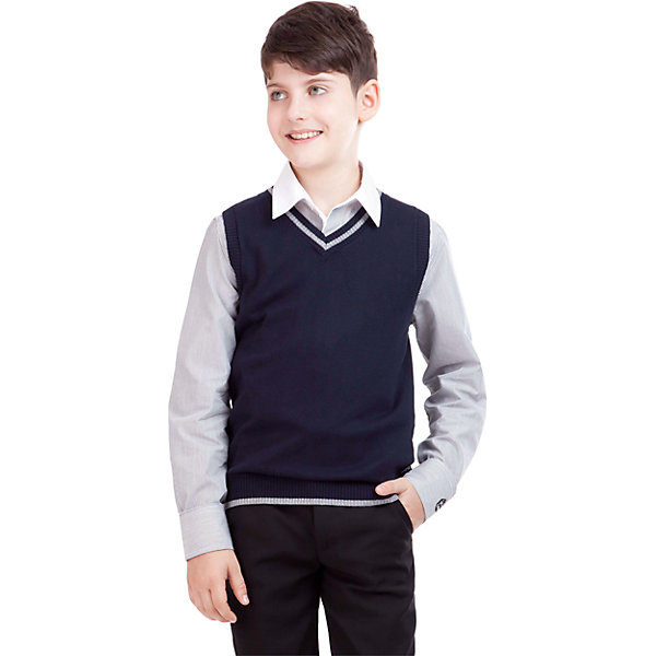 Жилет для мальчика GulliverЖилеты<br>Жилет для мальчика от российского бренда Gulliver.<br>Являясь важным атрибутом школьной моды,  уютный вязаный жилет создает тепло и комфорт. Комбинация фактур и контрастные элементы выделяют жилет из базового ассортимента.  Сложный состав пряжи делает жилет  мягким  и очень комфортным в носке. В отделке вышивка с монограммой GSC (Gulliver School Collection).<br>Состав:<br>40% вискоза           25% шерсть          25% хлопок              10% нейлон<br><br>Ширина мм: 190<br>Глубина мм: 74<br>Высота мм: 229<br>Вес г: 236<br>Цвет: синий<br>Возраст от месяцев: 108<br>Возраст до месяцев: 120<br>Пол: Мужской<br>Возраст: Детский<br>Размер: 140,134,152,158,146,128,122<br>SKU: 4174566