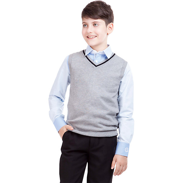 Жилет для мальчика GulliverЖилеты<br>Жилет для мальчика от российского бренда Gulliver.<br>Являясь важным атрибутом школьной моды,  уютный вязаный жилет создает тепло и комфорт. Комбинация фактур и контрастные элементы выделяют жилет из базового ассортимента.  Сложный состав пряжи делает жилет  мягким  и очень комфортным в носке. В отделке вышивка с монограммой GSC (Gulliver School Collection).<br>Состав:<br>40% вискоза           25% шерсть          25% хлопок              10% нейлон<br>Ширина мм: 190; Глубина мм: 74; Высота мм: 229; Вес г: 236; Цвет: серый; Возраст от месяцев: 144; Возраст до месяцев: 156; Пол: Мужской; Возраст: Детский; Размер: 158,122,134,146,152,140,128; SKU: 4174574;