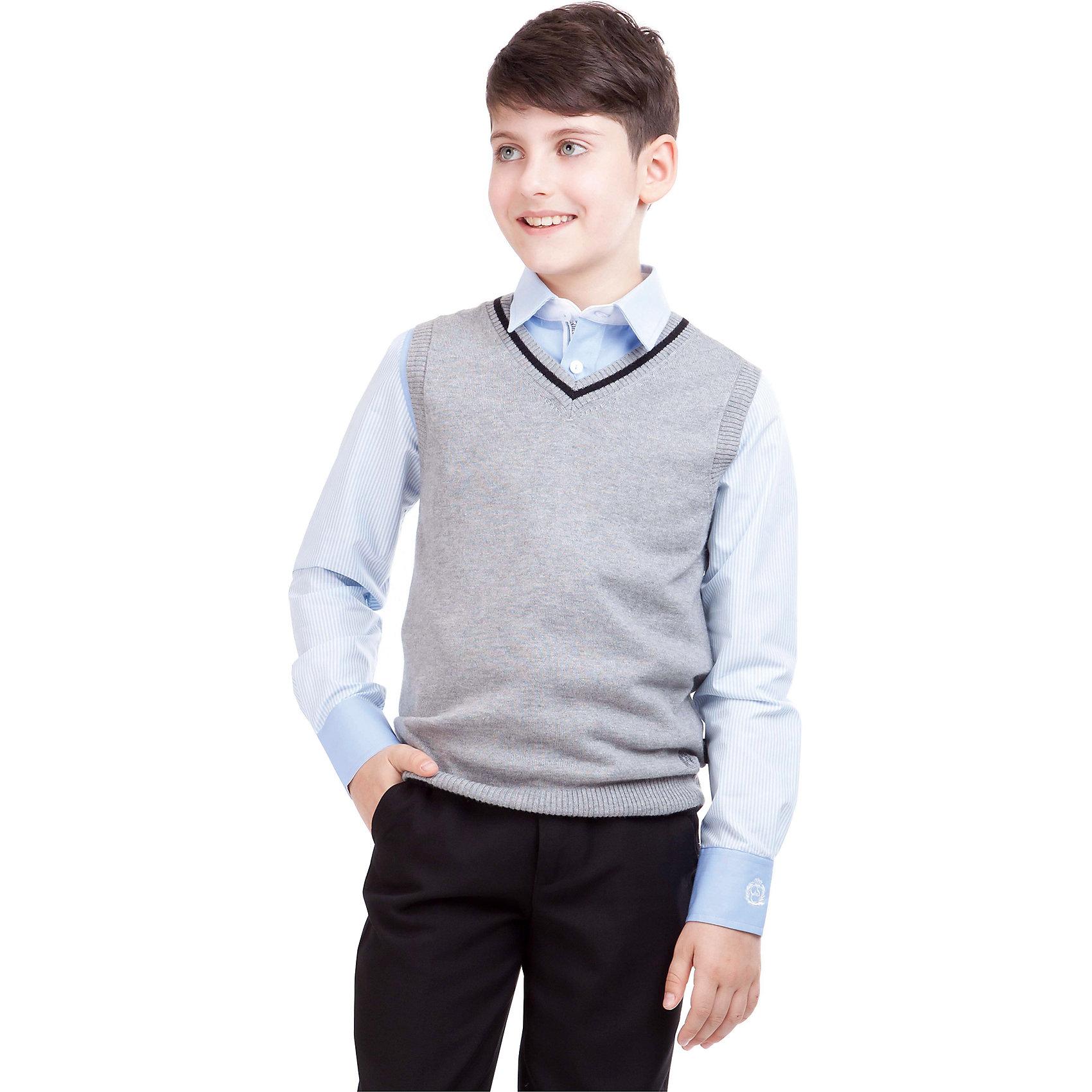 Жилет для мальчика GulliverЖилеты<br>Жилет для мальчика от российского бренда Gulliver.<br>Являясь важным атрибутом школьной моды,  уютный вязаный жилет создает тепло и комфорт. Комбинация фактур и контрастные элементы выделяют жилет из базового ассортимента.  Сложный состав пряжи делает жилет  мягким  и очень комфортным в носке. В отделке вышивка с монограммой GSC (Gulliver School Collection).<br>Состав:<br>40% вискоза           25% шерсть          25% хлопок              10% нейлон<br><br>Ширина мм: 190<br>Глубина мм: 74<br>Высота мм: 229<br>Вес г: 236<br>Цвет: серый<br>Возраст от месяцев: 108<br>Возраст до месяцев: 120<br>Пол: Мужской<br>Возраст: Детский<br>Размер: 140,152,146,134,122,158,128<br>SKU: 4174574