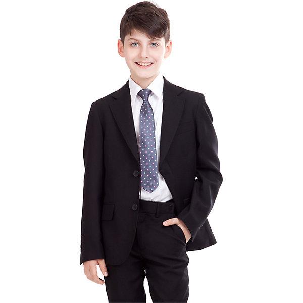Пиджак для мальчика GulliverКостюмы и пиджаки<br>Пиджак для мальчика от российского бренда Gulliver.<br>Замечательный черный пиджак  выполняет функцию главного делового атрибута школьника. Он уместен для ежедневного использования и незаменим для торжественных мероприятий. Великолепный состав и качество ткани сделает длительное пребывание в пиджаке приятным и комфортным. Весьма изящно выглядит орнаментальная подкладка пиджака.<br>Состав:<br>тк. верха: 65% полиэстер,  25% вискоза, 10% шерсть подкл.: 100% полиэстер<br>Ширина мм: 356; Глубина мм: 10; Высота мм: 245; Вес г: 519; Цвет: черный; Возраст от месяцев: 72; Возраст до месяцев: 84; Пол: Мужской; Возраст: Детский; Размер: 122,134,128,140,146,152,158; SKU: 4174616;