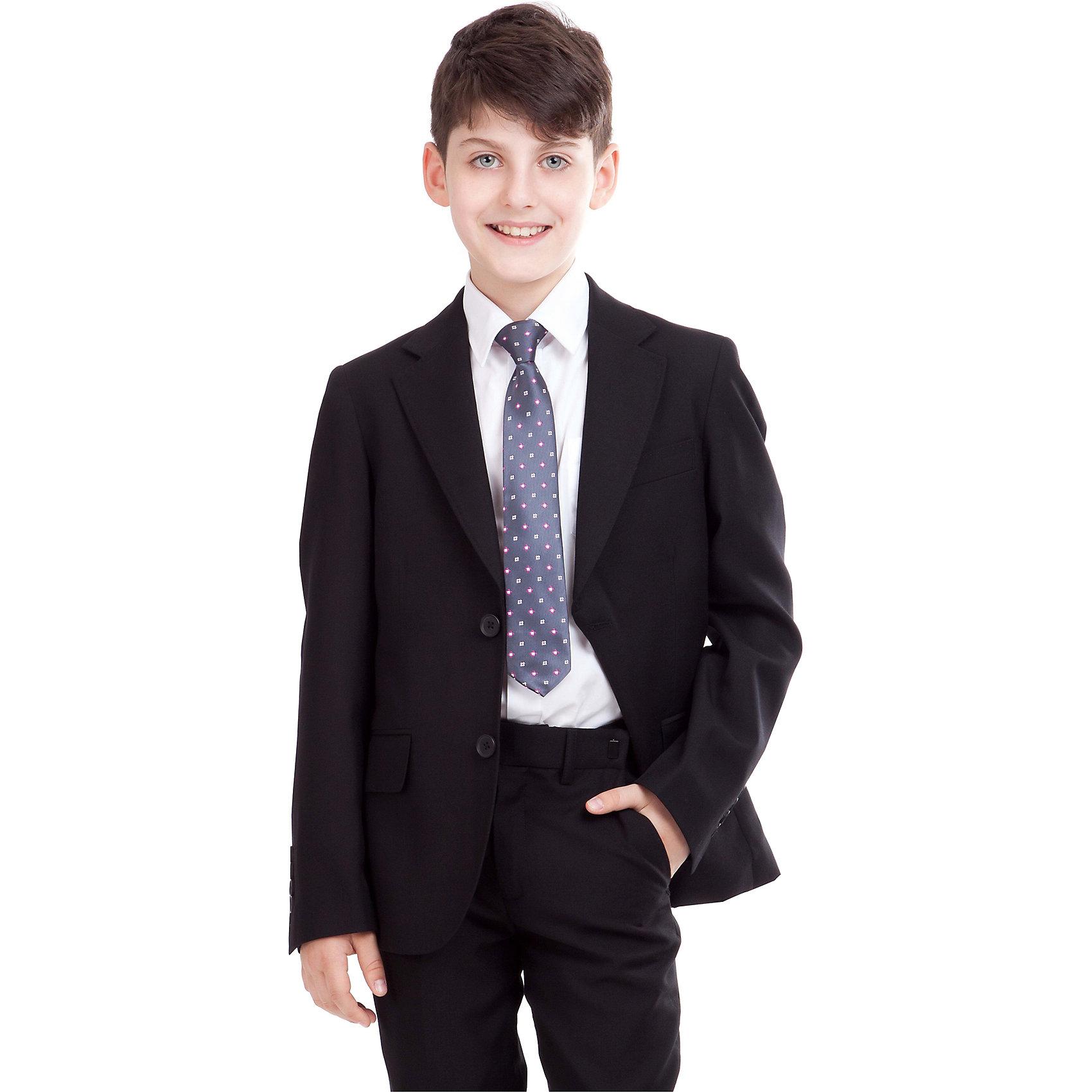 Пиджак для мальчика GulliverПиджаки и костюмы<br>Пиджак для мальчика от российского бренда Gulliver.<br>Замечательный черный пиджак  выполняет функцию главного делового атрибута школьника. Он уместен для ежедневного использования и незаменим для торжественных мероприятий. Великолепный состав и качество ткани сделает длительное пребывание в пиджаке приятным и комфортным. Весьма изящно выглядит орнаментальная подкладка пиджака.<br>Состав:<br>тк. верха: 65% полиэстер,  25% вискоза, 10% шерсть подкл.: 100% полиэстер<br><br>Ширина мм: 356<br>Глубина мм: 10<br>Высота мм: 245<br>Вес г: 519<br>Цвет: черный<br>Возраст от месяцев: 72<br>Возраст до месяцев: 84<br>Пол: Мужской<br>Возраст: Детский<br>Размер: 122,128,134,158,152,146,140<br>SKU: 4174616