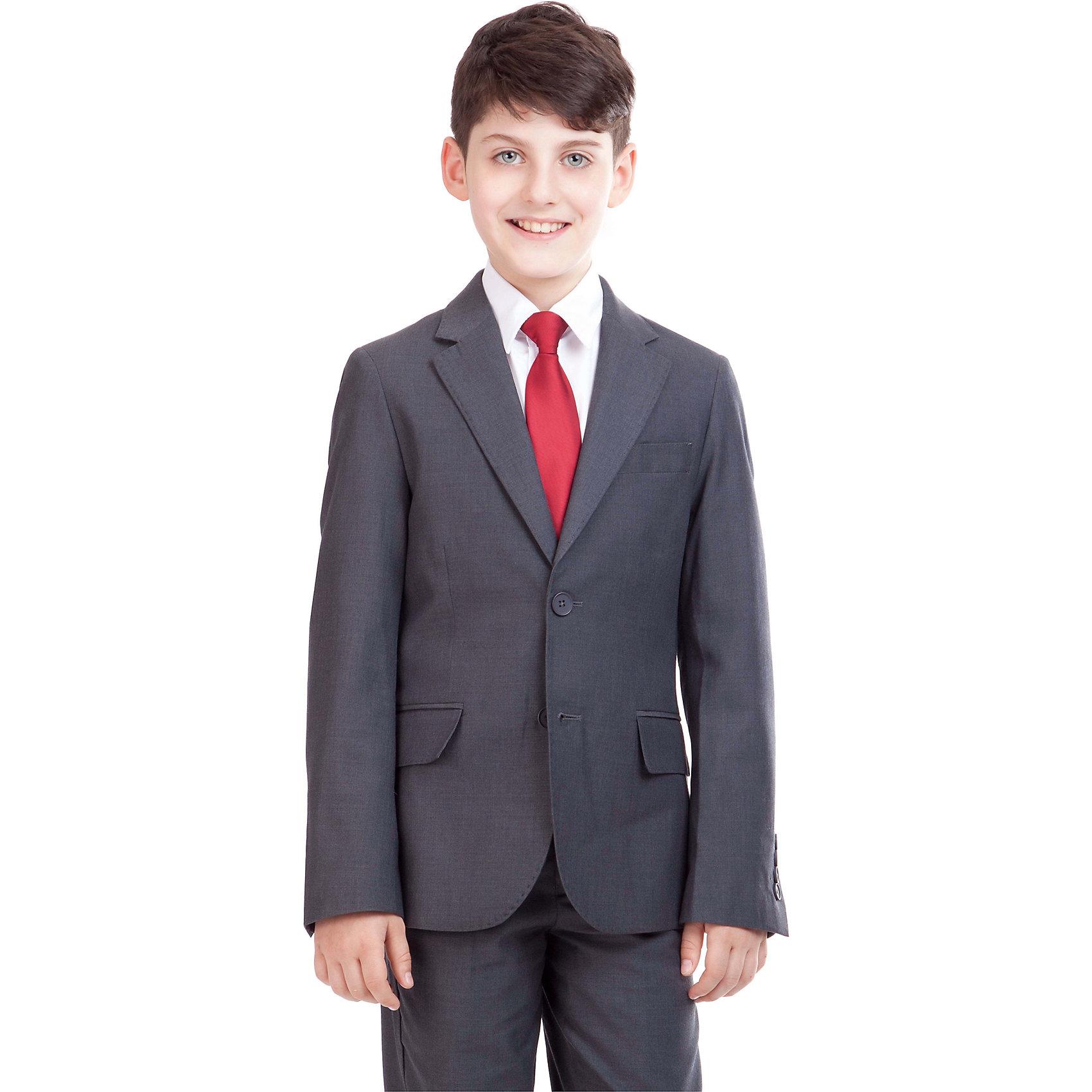 Пиджак для мальчика GulliverПиджак для мальчика от российского бренда Gulliver.<br>Замечательный серый пиджак выполняет функцию главного делового атрибута школьника. Он уместен для ежедневного использования и незаменим для торжественных мероприятий. Великолепный состав и качество ткани сделает длительное пребывание в пиджаке приятным и комфортным. Весьма оригинально выглядит орнаментальная подкладка пиджака.<br>Состав:<br>тк. верха: 65% полиэстер,  25% вискоза, 10% шерсть подкл.: 100% полиэстер<br><br>Ширина мм: 356<br>Глубина мм: 10<br>Высота мм: 245<br>Вес г: 519<br>Цвет: серый<br>Возраст от месяцев: 144<br>Возраст до месяцев: 156<br>Пол: Мужской<br>Возраст: Детский<br>Размер: 158,146,122,128,134,140,152<br>SKU: 4174624