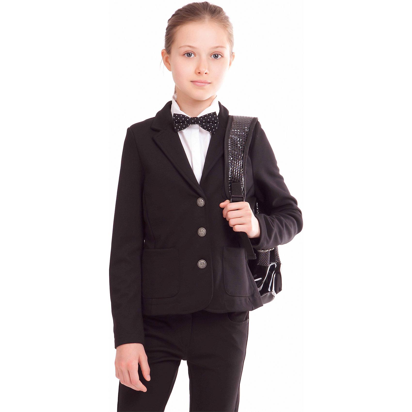 Жакет для девочки GulliverКостюмы и пиджаки<br>Жакет для девочки от российской марки Gulliver.<br>Жакет из  джерси  - прекрасная альтернатива классическому пиджаку. Он отлично держит форму, при этом обладает удобством и комфортом трикотажного изделия.  Жакет из джерси  - идеальное дополнение к любым  юбке, шортам, брюкам. В отделке лаконичный шеврон на нагрудном кармане, напоминающий эмблему учебного заведения.<br>Состав:<br>72% полиэстер 24% вискоза             4% эластан<br><br>Ширина мм: 356<br>Глубина мм: 10<br>Высота мм: 245<br>Вес г: 519<br>Цвет: черный<br>Возраст от месяцев: 96<br>Возраст до месяцев: 108<br>Пол: Женский<br>Возраст: Детский<br>Размер: 134,128,152,122,158,146,140<br>SKU: 4174720