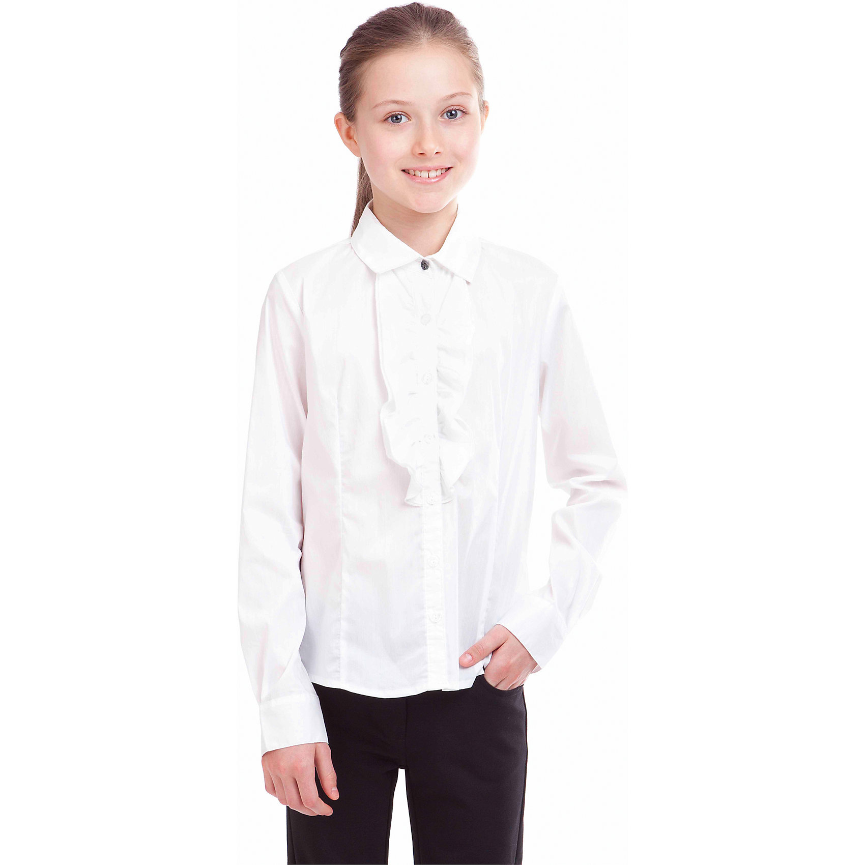 Блузка для девочки GulliverБлузки и рубашки<br>Блузка для девочки от российской марки Gulliver.<br>Великолепная белая блузка с массивной рюшей, дополненной кружевом - прекрасный вариант для торжественных мероприятий. В составе ткани значительное содержание хлопка. Полиэстер и эластан играют роль смягчающего волокна и гарантируют комфортную посадку блузки на фигуре.<br>Состав:<br>63%хлопок, 35%нейлон, 2%эластан<br><br>Ширина мм: 186<br>Глубина мм: 87<br>Высота мм: 198<br>Вес г: 197<br>Цвет: белый<br>Возраст от месяцев: 144<br>Возраст до месяцев: 156<br>Пол: Женский<br>Возраст: Детский<br>Размер: 158,128,152,146,140,134,122<br>SKU: 4174736