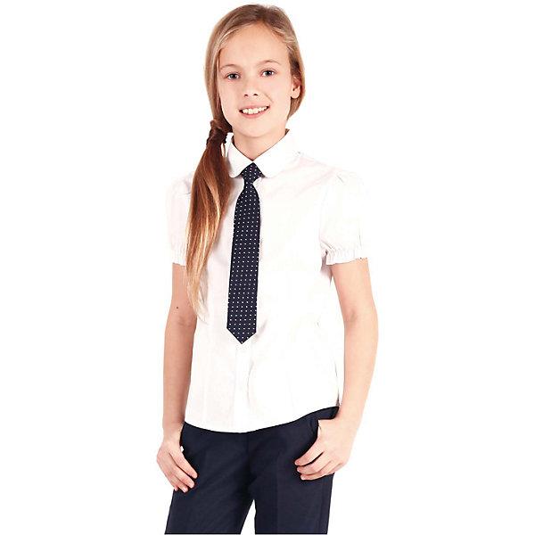 Блузка для девочки GulliverБлузки и рубашки<br>Блузка для девочки от российской марки Gulliver.<br>Белая блузка с коротким рукавом - незаменимая вещь для жарких школьных классов в любое время года. Чуть приталенный силуэт и рукав - фонарик придают блузке женственность и романтичность.  В составе ткани значительное содержание хлопка. Полиэстер и эластан играют роль смягчающего волокна и гарантируют комфортную посадку блузки на фигуре.<br>Состав:<br>68%хлопок, 29% полиэстер, 3%эластан<br><br>Ширина мм: 186<br>Глубина мм: 87<br>Высота мм: 198<br>Вес г: 197<br>Цвет: белый<br>Возраст от месяцев: 84<br>Возраст до месяцев: 96<br>Пол: Женский<br>Возраст: Детский<br>Размер: 128,152,158,122,134,140,146<br>SKU: 4174744