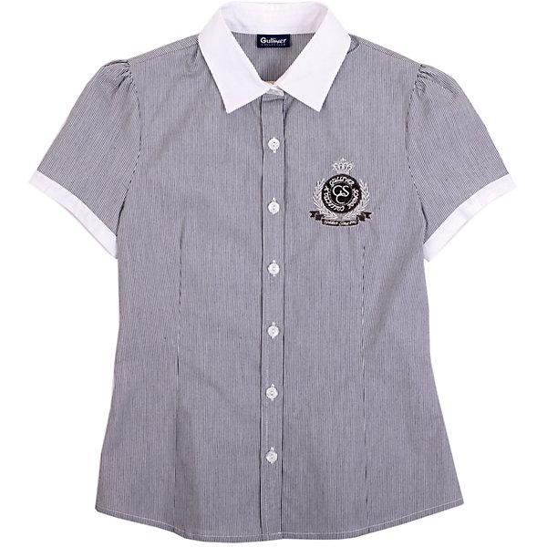 Блузка для девочки GulliverБлузки и рубашки<br>Блузка для девочки от российской марки Gulliver.<br>Блузка с коротким рукавом - незаменимая вещь для жарких школьных классов в любое время года. Чуть приталенный силуэт и рукав - фонарик придают блузке женственность и романтичность.  В составе ткани значительное содержание хлопка. Полиэстер и эластан играют роль смягчающего волокна и гарантируют комфортную посадку блузки на фигуре. Полочку украшает лаконичная вышивка и шеврон с монограммой GSC (Gulliver School Collection).<br>Состав:<br>68%хлопок, 29% полиэстер, 3%эластан<br><br>Ширина мм: 186<br>Глубина мм: 87<br>Высота мм: 198<br>Вес г: 197<br>Цвет: серый<br>Возраст от месяцев: 120<br>Возраст до месяцев: 132<br>Пол: Женский<br>Возраст: Детский<br>Размер: 146,158,122,134,152,128,140<br>SKU: 4174752