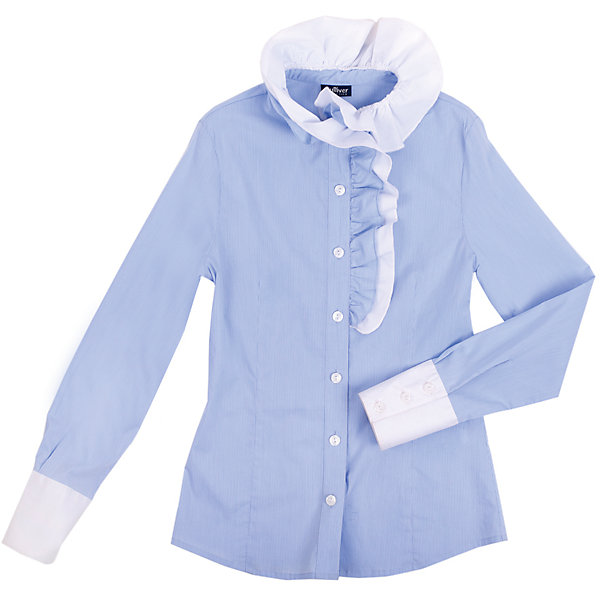 Блузка для девочки GulliverБлузки и рубашки<br>Блузка для девочки от российской марки Gulliver.<br>Нарядная блузка в тонкую полоску хороша и для каждого дня, и для торжественных школьных мероприятий. Воротник и полочку украшает двойная объемная рюша асимметричного кроя.  Прекрасный состав ткани обладает мягкостью и пластичностью, что обеспечивает отличную  посадку изделия на фигуре и делает продолжительную носку блузки приятной и комфортной.<br>Состав:<br>68%хлопок, 29% полиэстер, 3%эластан<br><br>Ширина мм: 186<br>Глубина мм: 87<br>Высота мм: 198<br>Вес г: 197<br>Цвет: голубой<br>Возраст от месяцев: 72<br>Возраст до месяцев: 84<br>Пол: Женский<br>Возраст: Детский<br>Размер: 122,134,146,152,158,140,128<br>SKU: 4174760