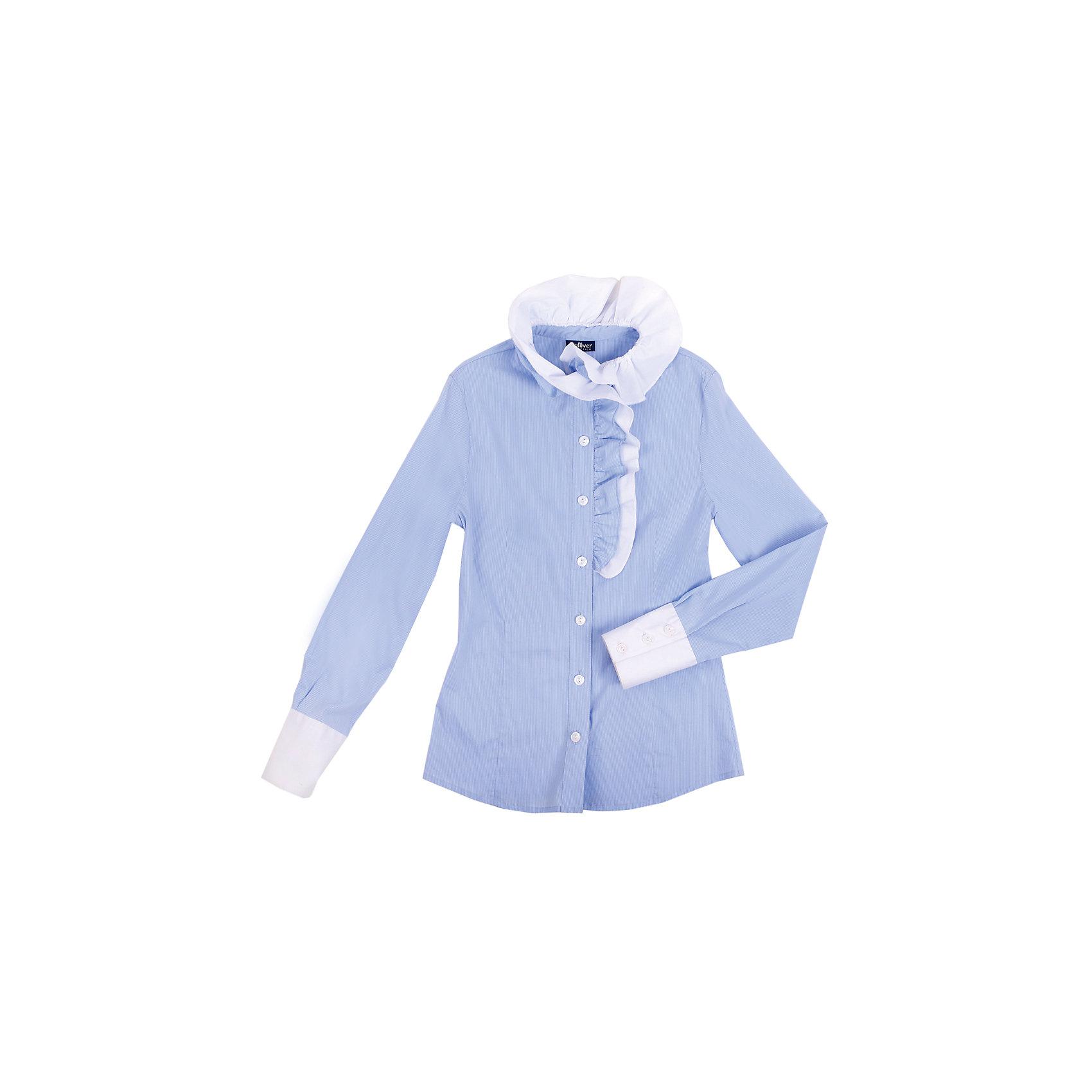 Блузка для девочки GulliverБлузка для девочки от российской марки Gulliver.<br>Нарядная блузка в тонкую полоску хороша и для каждого дня, и для торжественных школьных мероприятий. Воротник и полочку украшает двойная объемная рюша асимметричного кроя.  Прекрасный состав ткани обладает мягкостью и пластичностью, что обеспечивает отличную  посадку изделия на фигуре и делает продолжительную носку блузки приятной и комфортной.<br>Состав:<br>68%хлопок, 29% полиэстер, 3%эластан<br><br>Ширина мм: 186<br>Глубина мм: 87<br>Высота мм: 198<br>Вес г: 197<br>Цвет: голубой<br>Возраст от месяцев: 96<br>Возраст до месяцев: 108<br>Пол: Женский<br>Возраст: Детский<br>Размер: 134,122,128,140,158,152,146<br>SKU: 4174760