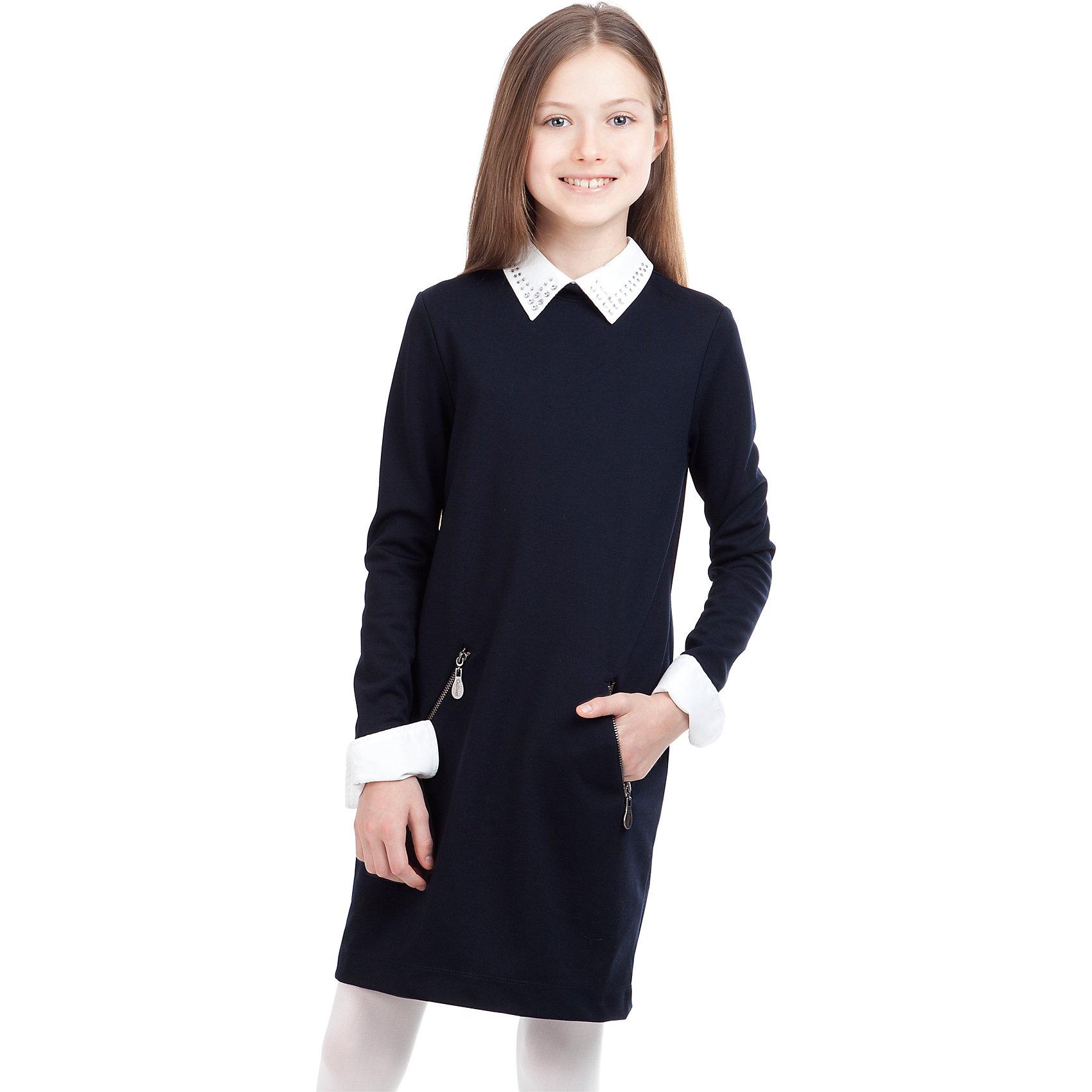 Платье GulliverПлатья и сарафаны<br>Платье для девочки от российской марки Gulliver.<br>Замечательное платье из трикотажного футера  - практичное комфортное решение на каждый день. Оно не стесняет движений,  имеет удобные карманы для хранения девичьих секретов. Съемные воротник и манжеты  упрощают уход за изделием, напоминая мамам их школьные годы, когда воротнички и манжеты нужно было отпарывать для замены. Мягкий округлый силуэт сарафана гарантирует отличную посадку на всех типах  детской фигуры. Состав и плотность трикотажного полотна придают ощущение добротности, долговечности вещи.<br>Состав:<br>72% полиэстер 24% вискоза             4% эластан<br><br>Ширина мм: 236<br>Глубина мм: 16<br>Высота мм: 184<br>Вес г: 177<br>Цвет: черный<br>Возраст от месяцев: 156<br>Возраст до месяцев: 168<br>Пол: Женский<br>Возраст: Детский<br>Размер: 164,158,128,122,134,152,140,146<br>SKU: 4174832