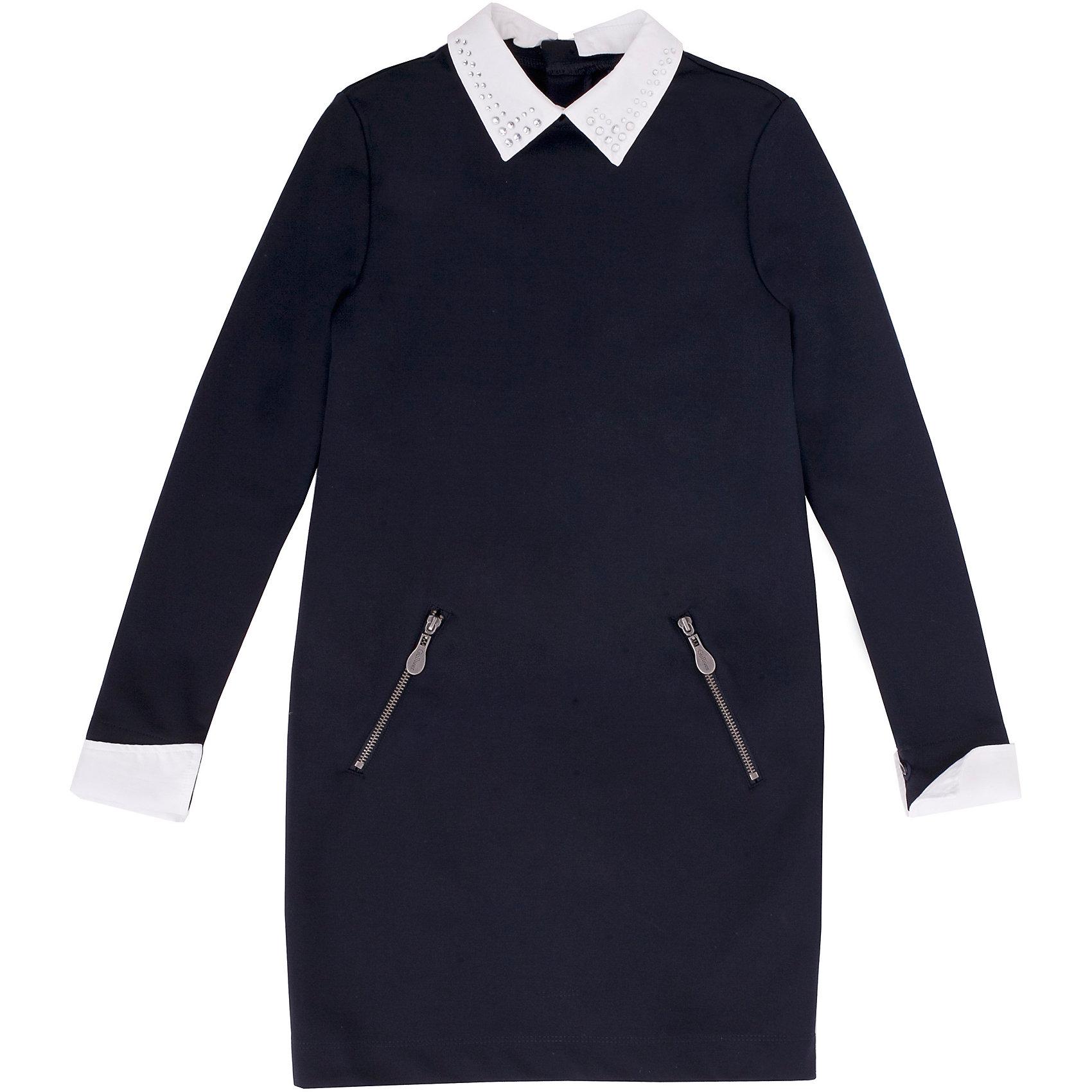 Платье GulliverПлатье для девочки от российской марки Gulliver.<br>Замечательное платье из трикотажного футера  - практичное комфортное решение на каждый день. Оно не стесняет движений,  имеет удобные карманы для хранения девичьих секретов. Съемные ворот и манжеты  упрощают уход за изделием, напоминая мамам их школьные годы, когда воротнички и манжеты нужно было отпарывать для замены. Мягкий округлый силуэт сарафана гарантирует отличную посадку на всех типах  детской фигуры. Состав и плотность трикотажного полотна придают ощущение добротности, долговечности вещи.<br>Состав:<br>72% полиэстер 24% вискоза             4% эластан<br><br>Ширина мм: 236<br>Глубина мм: 16<br>Высота мм: 184<br>Вес г: 177<br>Цвет: синий<br>Возраст от месяцев: 72<br>Возраст до месяцев: 84<br>Пол: Женский<br>Возраст: Детский<br>Размер: 122,140,164,134,128,146,158,152<br>SKU: 4174840