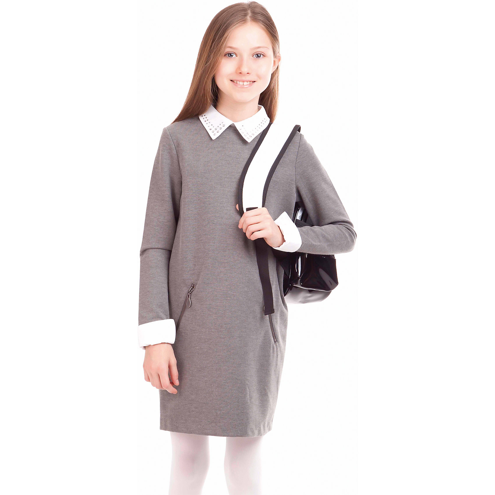 Платье GulliverПлатья и сарафаны<br>Платье для девочки от российской марки Gulliver.<br>Замечательное платье из трикотажного футера  - практичное комфортное решение на каждый день. Оно не стесняет движений,  имеет удобные карманы для хранения девичьих секретов. Съемные ворот и манжеты  упрощают уход за изделием, напоминая мамам их школьные годы, когда воротнички и манжеты нужно было отпарывать для замены. Мягкий округлый силуэт сарафана гарантирует отличную посадку на всех типах  детской фигуры. Состав и плотность трикотажного полотна придают ощущение добротности, долговечности вещи.<br>Состав:<br>72% полиэстер 24% вискоза             4% эластан<br><br>Ширина мм: 236<br>Глубина мм: 16<br>Высота мм: 184<br>Вес г: 177<br>Цвет: серый<br>Возраст от месяцев: 72<br>Возраст до месяцев: 84<br>Пол: Женский<br>Возраст: Детский<br>Размер: 140,152,158,146,134,128,122,164<br>SKU: 4174849