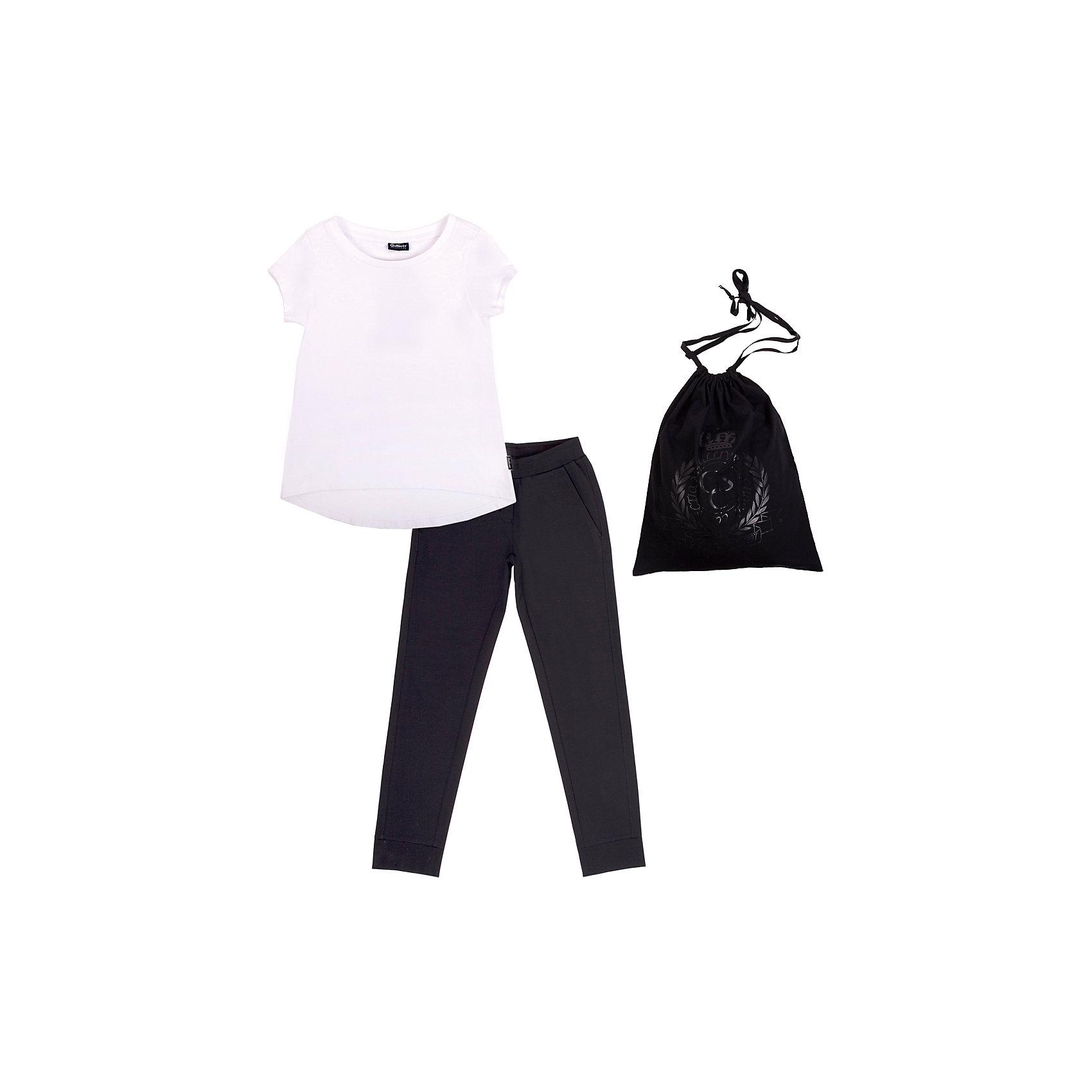 Комплект: футболка и брюки для девочки GulliverКомплекты<br>Комплект: футболка и брюки для девочки от российской марки Gulliver.<br>Белый верх, черный низ - готовое решение для занятий физкультурой и спортом. Прекрасно сидит, элегантно выглядит и, главное, соответствует требованиям школы! Великолепное хлопчатобумажное трикотажное полотно с небольшим содержанием эластана красиво облегает фигуру, не сковывая движений. Удобная фирменная упаковка с мерцающим полимерным принтом черного цвета не позволит затеряться футболке и брюкам  в школьной раздевалке. Также, этот комплект может служить отличным оригинальным подарком ученику к новому учебному году.<br>Состав:<br>Футболка: 95% хлопок 5% эластан           Брюки: 60% хлопок, 35% полиэстер,             5% эластан Мешочек: 100% хлопок<br><br>Ширина мм: 199<br>Глубина мм: 10<br>Высота мм: 161<br>Вес г: 151<br>Цвет: черный/белый<br>Возраст от месяцев: 120<br>Возраст до месяцев: 132<br>Пол: Женский<br>Возраст: Детский<br>Размер: 146,152,158,122,140,128,134<br>SKU: 4174873