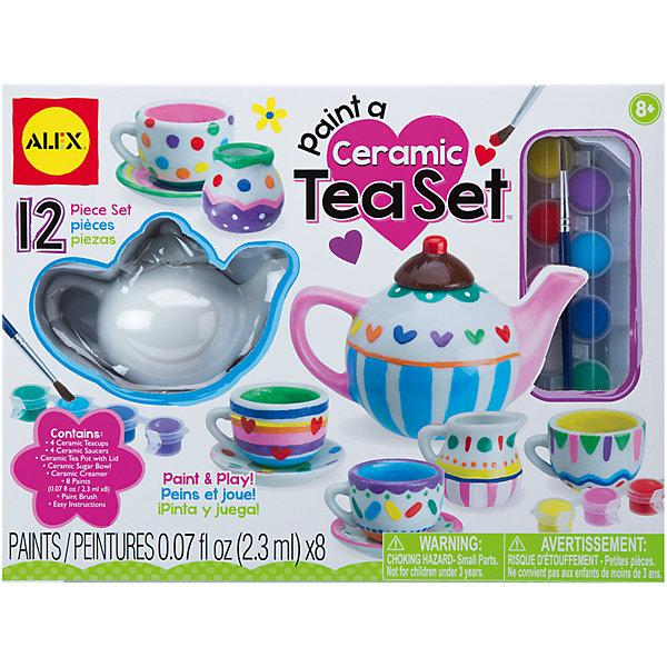 Набор Распиши фарфоровый сервизНаборы для раскрашивания<br>Распиши фарфоровый сервиз по своему собственному дизайну. Закрепи роспись, прокалив сервиз в духовке и приглашай друзей на веселое чаепитие. <br><br>Дополнительная информация:<br><br>Состав набора: чайник, Молочник, вазочка, чайные чашки (4шт), блюдца ( 4шт), разноцветные краски по фарфору (8 цветов), кисточка, инструкция.<br><br>Набор Распиши фарфоровый сервиз от АЛЕКС можно купить в нашем магазине.<br><br>Ширина мм: 305<br>Глубина мм: 230<br>Высота мм: 76<br>Вес г: 1814<br>Возраст от месяцев: 96<br>Возраст до месяцев: 168<br>Пол: Унисекс<br>Возраст: Детский<br>SKU: 4176252