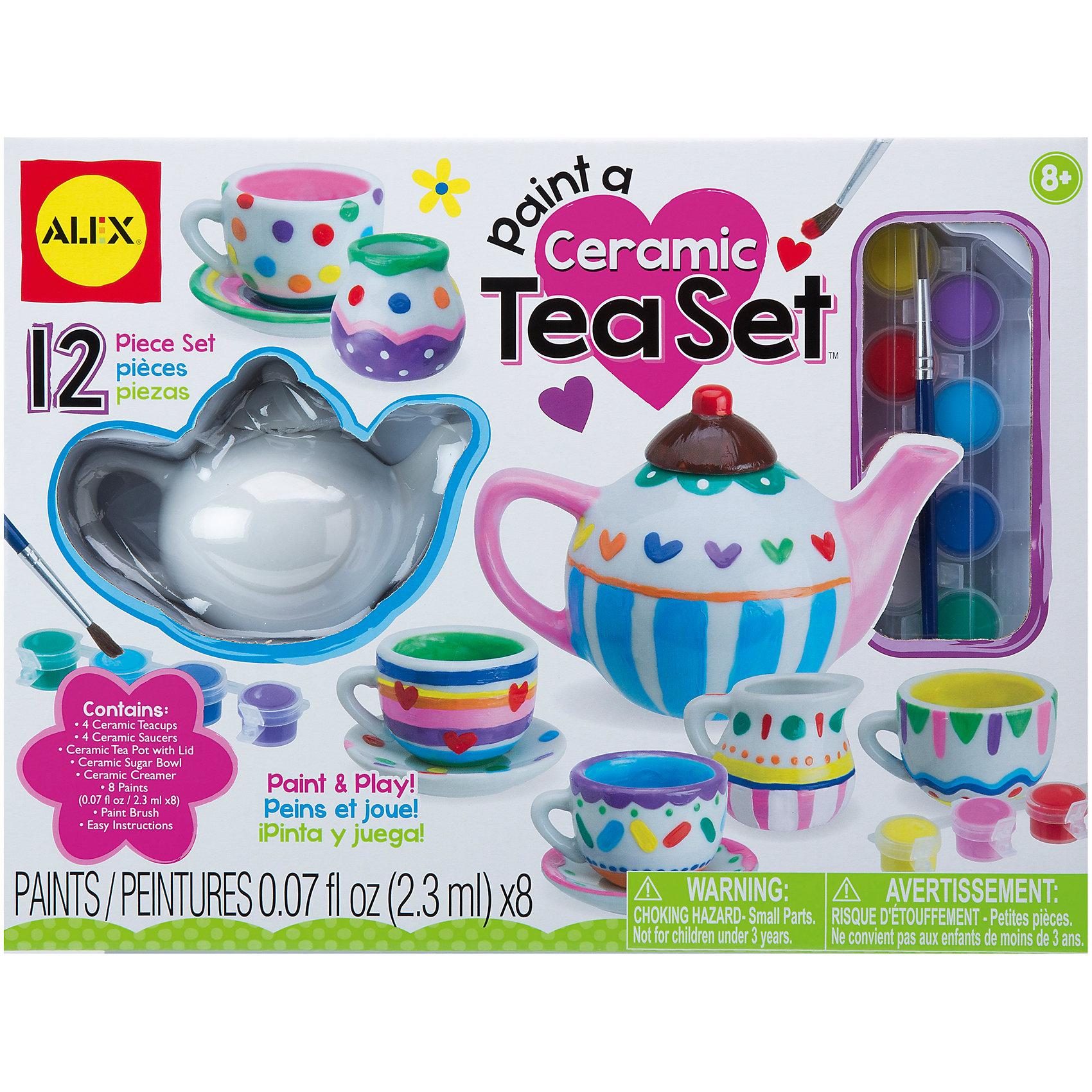 Набор Распиши фарфоровый сервизРаспиши фарфоровый сервиз по своему собственному дизайну. Закрепи роспись, прокалив сервиз в духовке и приглашай друзей на веселое чаепитие. <br><br>Дополнительная информация:<br><br>Состав набора: чайник, Молочник, вазочка, чайные чашки (4шт), блюдца ( 4шт), разноцветные краски по фарфору (8 цветов), кисточка, инструкция.<br><br>Набор Распиши фарфоровый сервиз от АЛЕКС можно купить в нашем магазине.<br><br>Ширина мм: 305<br>Глубина мм: 230<br>Высота мм: 76<br>Вес г: 1814<br>Возраст от месяцев: 96<br>Возраст до месяцев: 168<br>Пол: Унисекс<br>Возраст: Детский<br>SKU: 4176252
