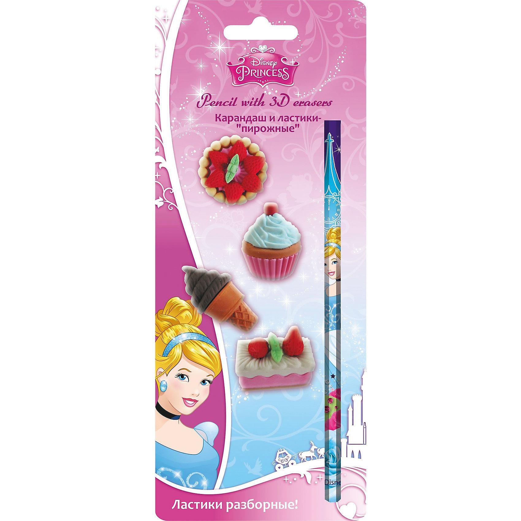 Академия групп Канцелярский набор Принцессы Дисней (5 предметов) академия групп пенал в форме карандаша принцессы дисней