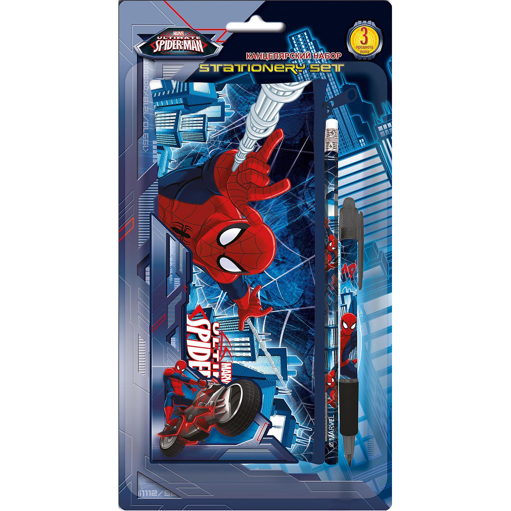 Академия групп Канцелярский набор Человек-Паук (3 предмета) академия групп набор канцелярский в подарочной коробке человек паук