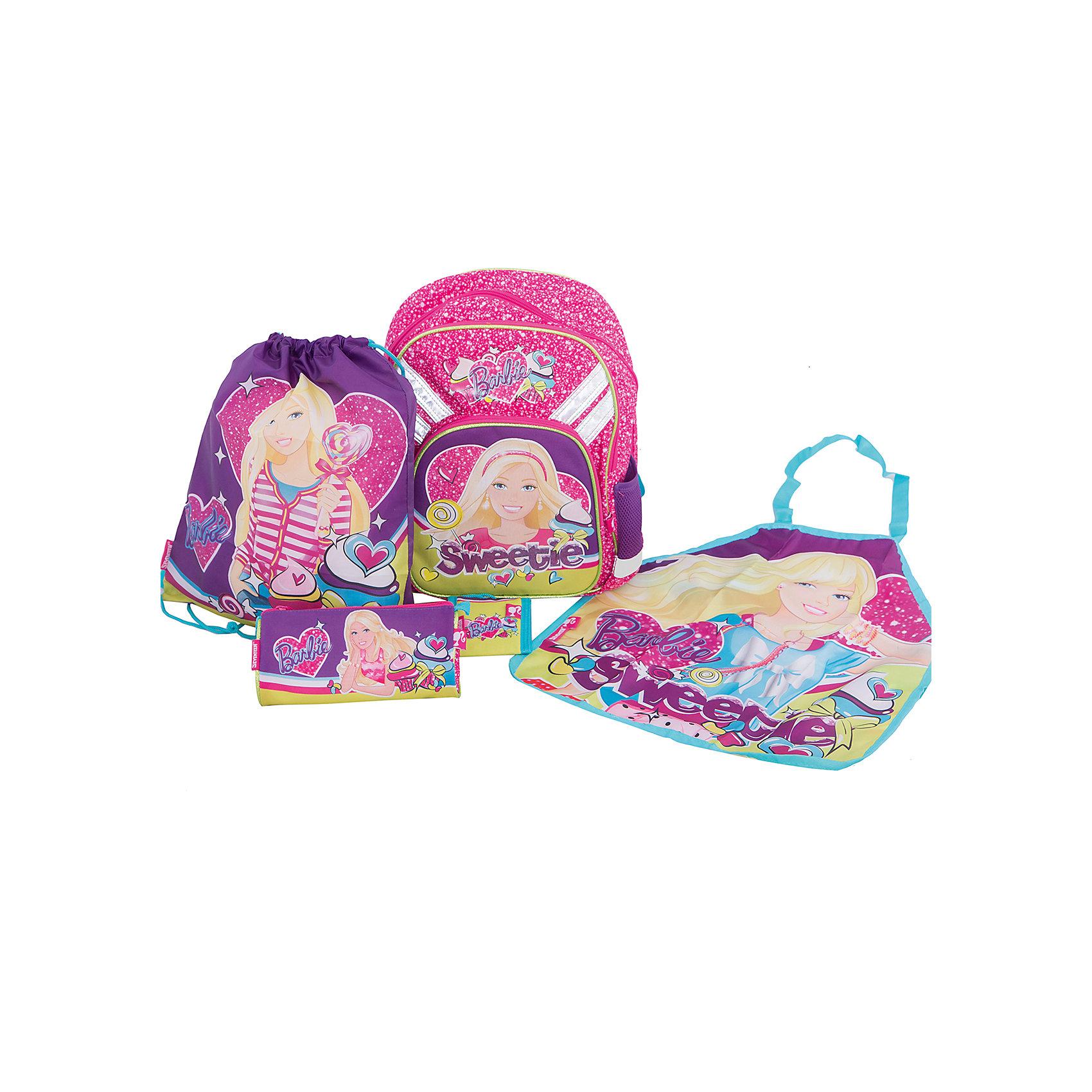 Академия групп Школьный набор Barbie (Эргономичный ранец, мешок для обуви, пенал, фартук, кошелек) академия групп канцелярский набор точилка ластик barbie