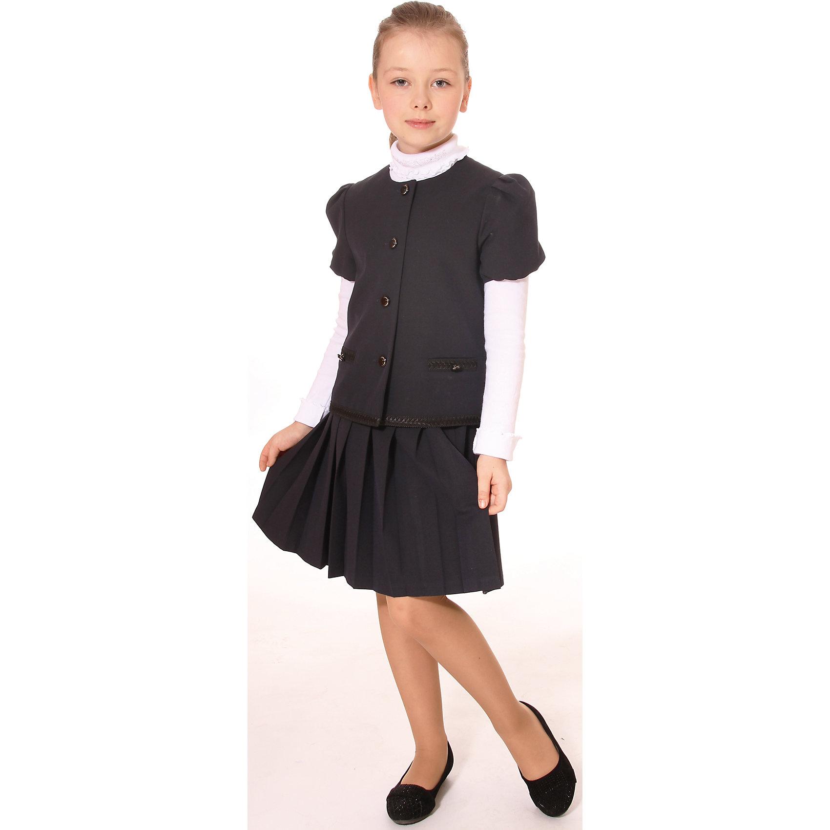 Костюм для девочки: жакет и юбка СменаКостюм для девочки: жакет и юбка от российской марки Смена.<br>Костюм состоит из жакета и юбки. Жакет с короткими рукавами - фонариками и отделкой тесьмой по карманам и линии низа. Юбка в складку на поясе, декорированном тесьмой.<br>Состав:<br>30% вискоза, 65% полиэстер, 5% эластан<br><br>Ширина мм: 356<br>Глубина мм: 10<br>Высота мм: 245<br>Вес г: 519<br>Цвет: синий<br>Возраст от месяцев: 108<br>Возраст до месяцев: 120<br>Пол: Женский<br>Возраст: Детский<br>Размер: 140,122,152,158,146,128,134<br>SKU: 4177313