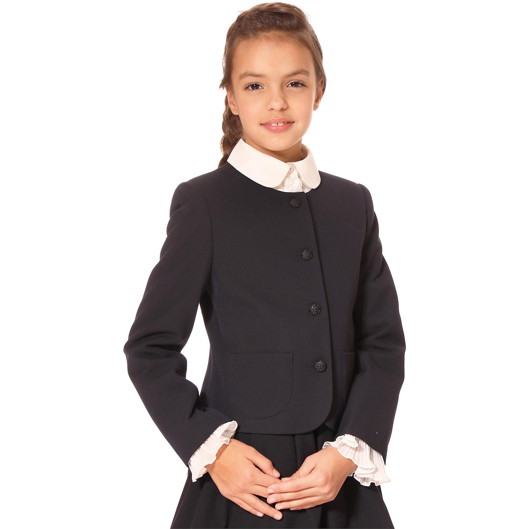 Жакет для девочки СменаПиджаки и костюмы<br>Жакет для девочки от российской марки Смена.<br>Универсальный и удобный жакет для девочки с длинными рукавами и накладными карманами.<br>Состав:<br>30% вискоза, 65% полиэстер, 5% эластан<br><br>Ширина мм: 190<br>Глубина мм: 74<br>Высота мм: 229<br>Вес г: 236<br>Цвет: синий<br>Возраст от месяцев: 108<br>Возраст до месяцев: 120<br>Пол: Женский<br>Возраст: Детский<br>Размер: 140,152,134,122,128,158,146<br>SKU: 4177360