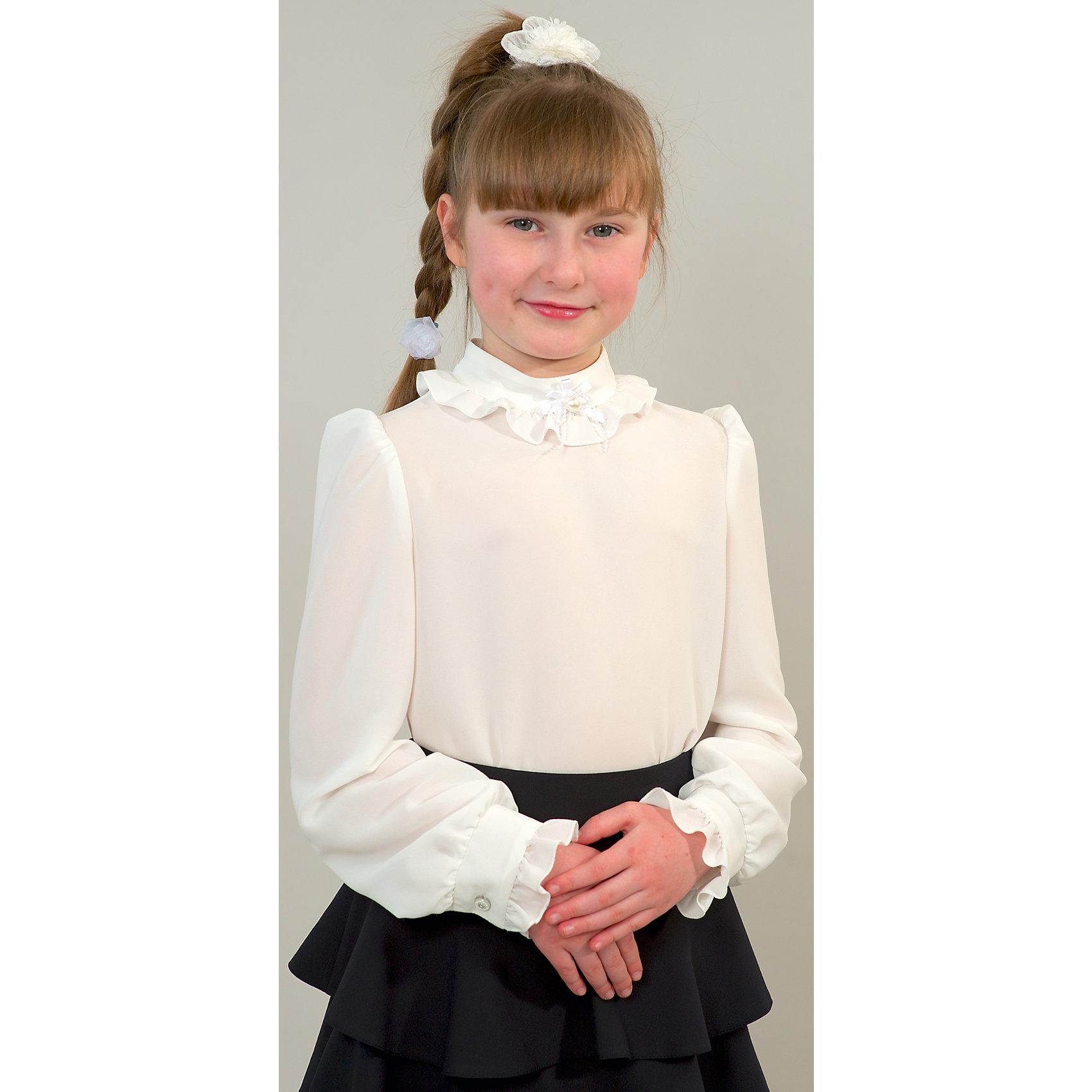 Блузка для девочки СменаБлузки и рубашки<br>Блузка для девочки от российской марки Смена.<br>Элегантная блузка с воротником - стойкой и застёжкой на потайную молнию на спинке. Блузка декорирована оборочками по горловине и низу манжет.<br>Состав:<br>35% хлопок, 65%  полиэстер<br><br>Ширина мм: 186<br>Глубина мм: 87<br>Высота мм: 198<br>Вес г: 197<br>Цвет: белый<br>Возраст от месяцев: 72<br>Возраст до месяцев: 84<br>Пол: Женский<br>Возраст: Детский<br>Размер: 122,146,128,158,134,140,152<br>SKU: 4177392