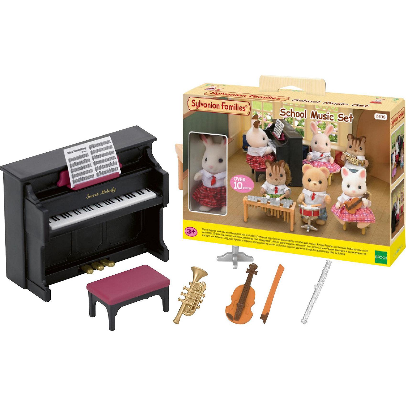 Набор Школьный оркестр, Sylvanian FamiliesSylvanian Families (Сильваниан Фэмилис) - целый мир, в котором живут маленькие милые зверята -  кролики, белки, медведи, лисы и многие другие. У каждого из них есть дом. Зверята репетируют в школьном оркестре, ты можешь стать дирижером, скорее присоединяйся! Игрушка прекрасно подходит для сюжетно-ролевых игр детей, развивает социальные навыки, мелкую моторику и воображение. Способствует правильному формированию образца полной семьи. Все детали набора выполнены их высококачественных, нетоксичных безопасных материалов. <br><br>Дополнительная информация:<br><br>- Комплектация: фигурка кролика Марии, фортепиано, пуфик, барабан, труба, скрипка со смычком, флейта, ноты.<br>- Материал: пластик, текстиль, флок.<br>- Голова и лапки игрушек поворачиваются.<br>- Размер упаковки: 64х3,8х50 см.<br><br>Набор Школьный оркестр, Sylvanian Families (Сильваниан Фэмилис), можно купить в нашем магазине.<br><br>Ширина мм: 640<br>Глубина мм: 380<br>Высота мм: 500<br>Вес г: 253<br>Возраст от месяцев: 36<br>Возраст до месяцев: 72<br>Пол: Женский<br>Возраст: Детский<br>SKU: 4177948
