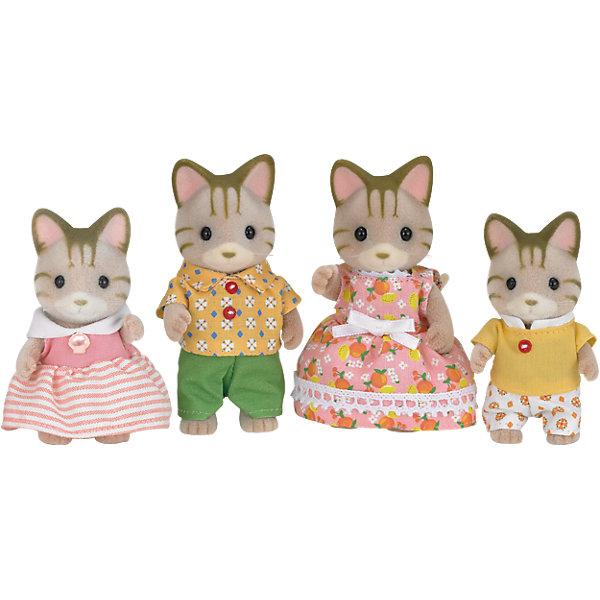 Набор Семья Полосатых Кошек, Sylvanian FamiliesИдеи подарков<br>Sylvanian Families (Сильваниан Фэмилис) - целый мир, в котором живут маленькие милые зверята -  кролики, белки, медведи, лисы и многие другие. У каждого из них есть дом. Познакомься в дружной и веселой семьей полосатых кошек. Милые зверята подарят множество улыбок и положительных эмоций малышам. Игрушка прекрасно подходит для сюжетно-ролевых игр детей, развивает социальные навыки, мелкую моторику и воображение. Способствует правильному формированию образца полной семьи. Все детали набора выполнены их высококачественных, нетоксичных безопасных материалов. <br><br>Дополнительная информация:<br><br>- Комплектация: папа, мама, девочка и мальчик.<br>- Материал: пластик, текстиль, флок.<br>- Голова и лапки игрушек поворачиваются.<br><br>Набор Семья Полосатых Кошек, Sylvanian Families (Сильваниан Фэмилис), можно купить в нашем магазине.<br><br>Ширина мм: 207<br>Глубина мм: 172<br>Высота мм: 60<br>Вес г: 151<br>Возраст от месяцев: 36<br>Возраст до месяцев: 72<br>Пол: Женский<br>Возраст: Детский<br>SKU: 4177951