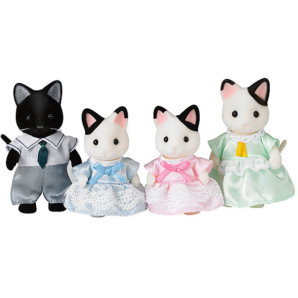 Набор Семья Чёрно-белых котов, Sylvanian FamiliesSylvanian Families<br>Sylvanian Families (Сильваниан Фэмилис) - целый мир, в котором живут маленькие милые зверята -  кролики, белки, медведи, лисы и многие другие. У каждого из них есть дом. Познакомься в дружной и веселой семьей черно-белых кошек. Милые зверята подарят множество улыбок и положительных эмоций малышам. Игрушка прекрасно подходит для сюжетно-ролевых игр детей, развивает социальные навыки, мелкую моторику и воображение. Способствует правильному формированию образца полной семьи. Все детали набора выполнены их высококачественных, нетоксичных безопасных материалов. <br><br>Дополнительная информация:<br><br>- Комплектация: папа, мама, две кошки-девочки.<br>- Материал: пластик, текстиль, флок.<br>- Голова и лапки игрушек поворачиваются.<br><br>Набор Семья черно-белых котов, Sylvanian Families (Сильваниан Фэмилис), можно купить в нашем магазине.<br>Ширина мм: 205; Глубина мм: 172; Высота мм: 60; Вес г: 144; Возраст от месяцев: 36; Возраст до месяцев: 72; Пол: Женский; Возраст: Детский; SKU: 4177952;