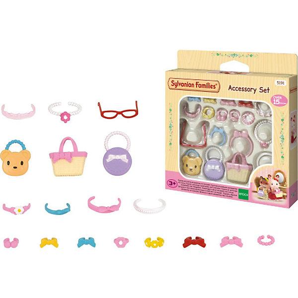 Набор Стильные штучки, Sylvanian FamiliesSylvanian Families<br>Sylvanian Families (Сильваниан Фэмилис) - целый мир, в котором живут маленькие милые зверята -  кролики, белки, медведи, лисы и многие другие. Набор «Стильные штучки» состоит из различных аксессуаров  - ободков, заколочек, сумочек. Каждый аксессуар детально продуман, поэтому выглядит очень реалистично. С этим замечательным набором ваши зверята будут самыми красивыми и стильными. Игрушка прекрасно развивает мелкую моторику и воображение. Все детали набора выполнены их высококачественных, нетоксичных безопасных материалов. <br><br>Дополнительная информация:<br><br>- Комплектация: 4 заколки, 4 браслета, 3 сумки, бусы, очки, 3 ободка.<br>- Материал: пластик.<br><br>Набор Стильные штучки, Sylvanian Families (Сильваниан Фэмилис), можно купить в нашем магазине.<br><br>Ширина мм: 330<br>Глубина мм: 276<br>Высота мм: 391<br>Вес г: 76<br>Возраст от месяцев: 36<br>Возраст до месяцев: 72<br>Пол: Женский<br>Возраст: Детский<br>SKU: 4177960