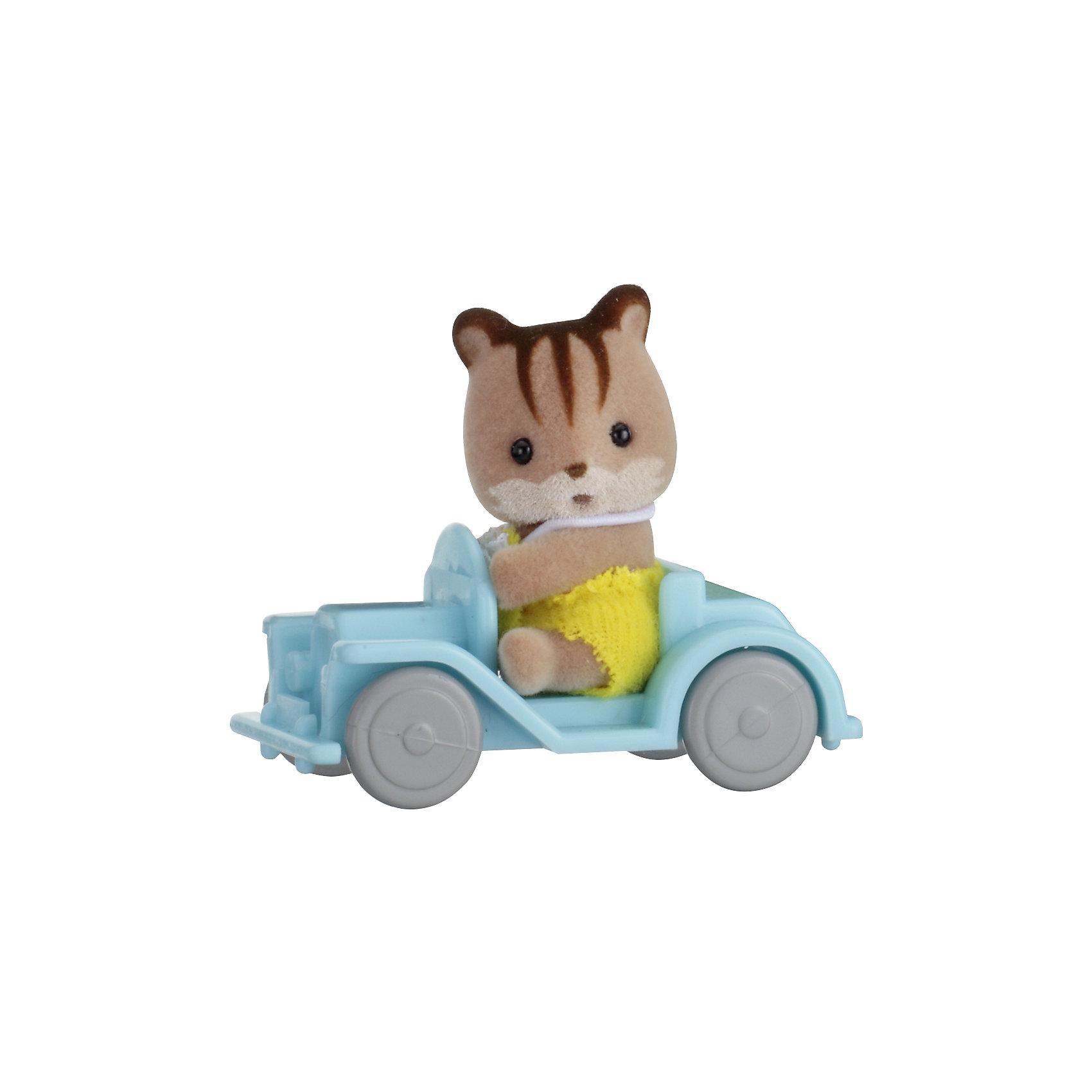"""- Набор """"Младенец в пластиковом сундучке """" (бельчонок на машине), Sylvanian Families"""