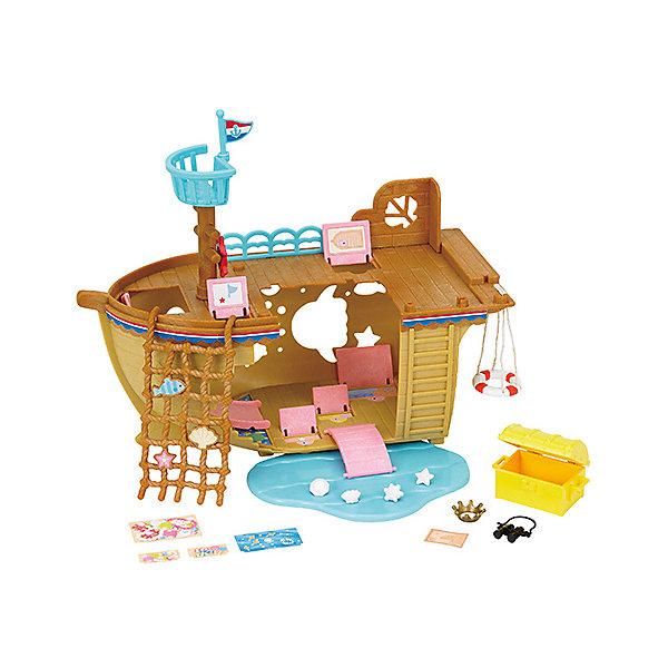Набор Детская площадка Сокровища морей, Sylvanian FamiliesSylvanian Families<br>Sylvanian Families (Сильваниан Фэмилис) - целый мир, в котором живут маленькие милые зверята - это кролики, белки, медведи, лисы и многие другие. У каждого из них есть дом и работа. Зверята-малыши придут в восторг от этой замечательной игровой площадки! Игрушка прекрасно подходит для сюжетно-ролевых игр детей, развивает мелкую моторику и воображение малышей. Все детали набора выполнены их высококачественных, нетоксичных безопасных материалов. <br><br>Дополнительная информация:<br><br>- Комплектация: детская площадка-корабль, мачта, канат, спасательный круг, горки, сундук с сокровищами.<br>- Материал: пластик, текстиль, флок.<br><br>Набор Детская площадка Сокровища морей, Sylvanian Families (Сильваниан Фэмилис), можно купить в нашем магазине.<br>Ширина мм: 154; Глубина мм: 306; Высота мм: 185; Вес г: 610; Возраст от месяцев: 36; Возраст до месяцев: 72; Пол: Женский; Возраст: Детский; SKU: 4177974;