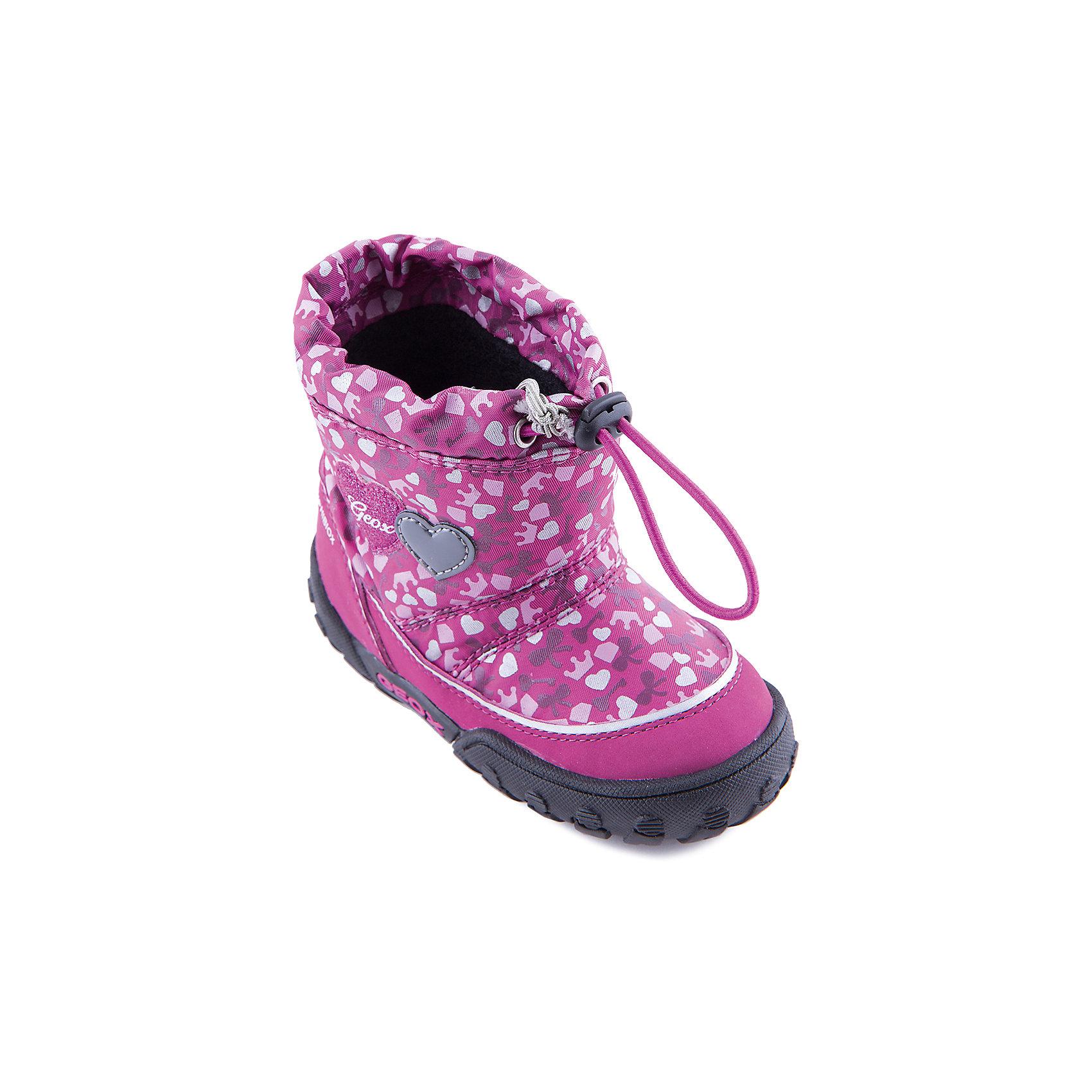 Полусапожки для девочки GEOXПолусапожки для девочки от популярной марки GEOX.<br><br>Симпатичные полусапожки сделаны по уникальной технологии. <br>Производитель обуви GEOX разработал специальную дышащую подошву, которая не пропускает влагу внутрь, а также высокотехнологичную стельку. При производстве этих полусапожек была задействована технология Amphibiox, делающая обувь непромокаемой. <br><br>Отличительные особенности модели:<br><br>- цвет: розовый;<br>- украшены принтом: сердечки;<br>- гибкая водоотталкивающая подошва с дышащей мембраной;<br>- утепленная стелька;<br>- мягкий и легкий верх;<br>- защита пятки и пальцев;<br>- эргономичная форма;<br>- удобная утяжка на голенище;<br>- комфортное облегание;<br>- ударопрочная антибактериальная стелька;<br>- защита от промокания - технология Amphibiox;<br>- верх обуви и подкладка сделаны без использования хрома.<br><br>Дополнительная информация:<br><br>- Температурный режим: от - 20° С  до -5° С.<br><br>- Состав:<br><br>материал верха: синтетический материал, текстиль<br>материал подкладки: текстиль<br>подошва: полимер.<br><br>Полусапожки для девочки GEOX (Геокс) можно купить в нашем магазине.<br><br>Ширина мм: 257<br>Глубина мм: 180<br>Высота мм: 130<br>Вес г: 420<br>Цвет: розовый<br>Возраст от месяцев: 36<br>Возраст до месяцев: 48<br>Пол: Женский<br>Возраст: Детский<br>Размер: 27,23,26,24,22,25<br>SKU: 4178010