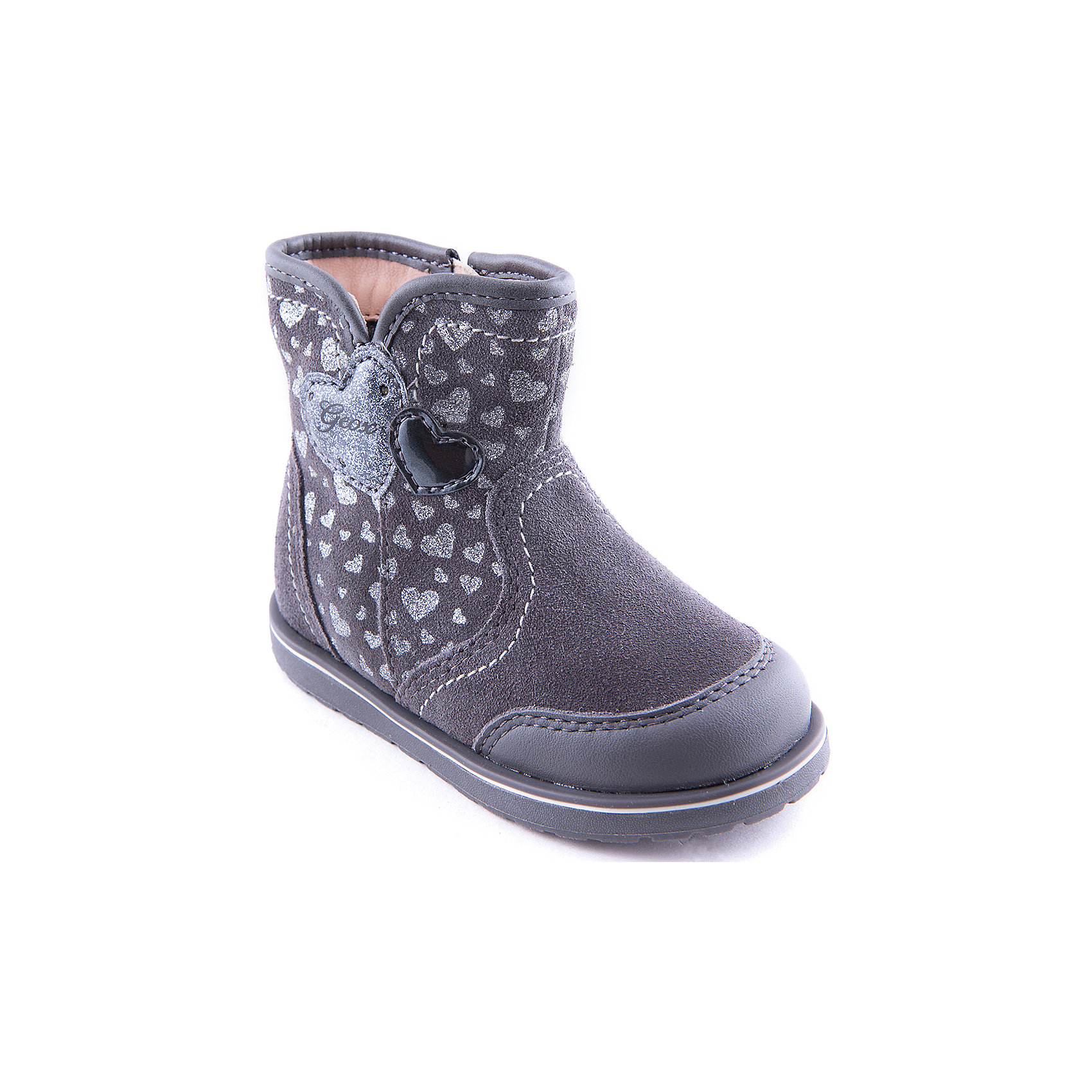 Сапоги для девочки GeoxОбувь для малышей<br>Полусапожки для девочки от популярной марки GEOX.<br>Удобные и теплые полусапожки сделаны по уникальной технологии. Производитель обуви GEOX разработал специальную дышащую подошву, которая не пропускает влагу внутрь, а также высокотехнологичную стельку. При производстве этих полусапожек была задействована технология Amphibiox, делающая обувь непромокаемой.<br>Отличительные особенности модели:<br>- цвет: серый;<br>- украшены принтом: сердечки;<br>- гибкая водоотталкивающая подошва с дышащей мембраной;<br>- утепленная стелька;<br>- мягкий и легкий верх;<br>- защита пятки и пальцев;<br>- эргономичная форма;<br>- удобные застежки-липучки;<br>- комфортное облегание;<br>- ударопрочная антибактериальная стелька;<br>- защита от промокания - технология Amphibiox;<br>- верх обуви и подкладка сделаны без использования хрома.<br>Дополнительная информация:<br>- Температурный режим: от - 20° С до -5° С.<br>- Состав:<br>материал верха: синтетический материал, кожа<br>материал подкладки: текстиль, кожа, синтетика<br>подошва: полимер.<br>Полусапоги для девочки GEOX (Геокс) можно купить в нашем магазине.<br><br>Ширина мм: 257<br>Глубина мм: 180<br>Высота мм: 130<br>Вес г: 420<br>Цвет: серый<br>Возраст от месяцев: 15<br>Возраст до месяцев: 18<br>Пол: Женский<br>Возраст: Детский<br>Размер: 22,23,26,27,25,24<br>SKU: 4178080