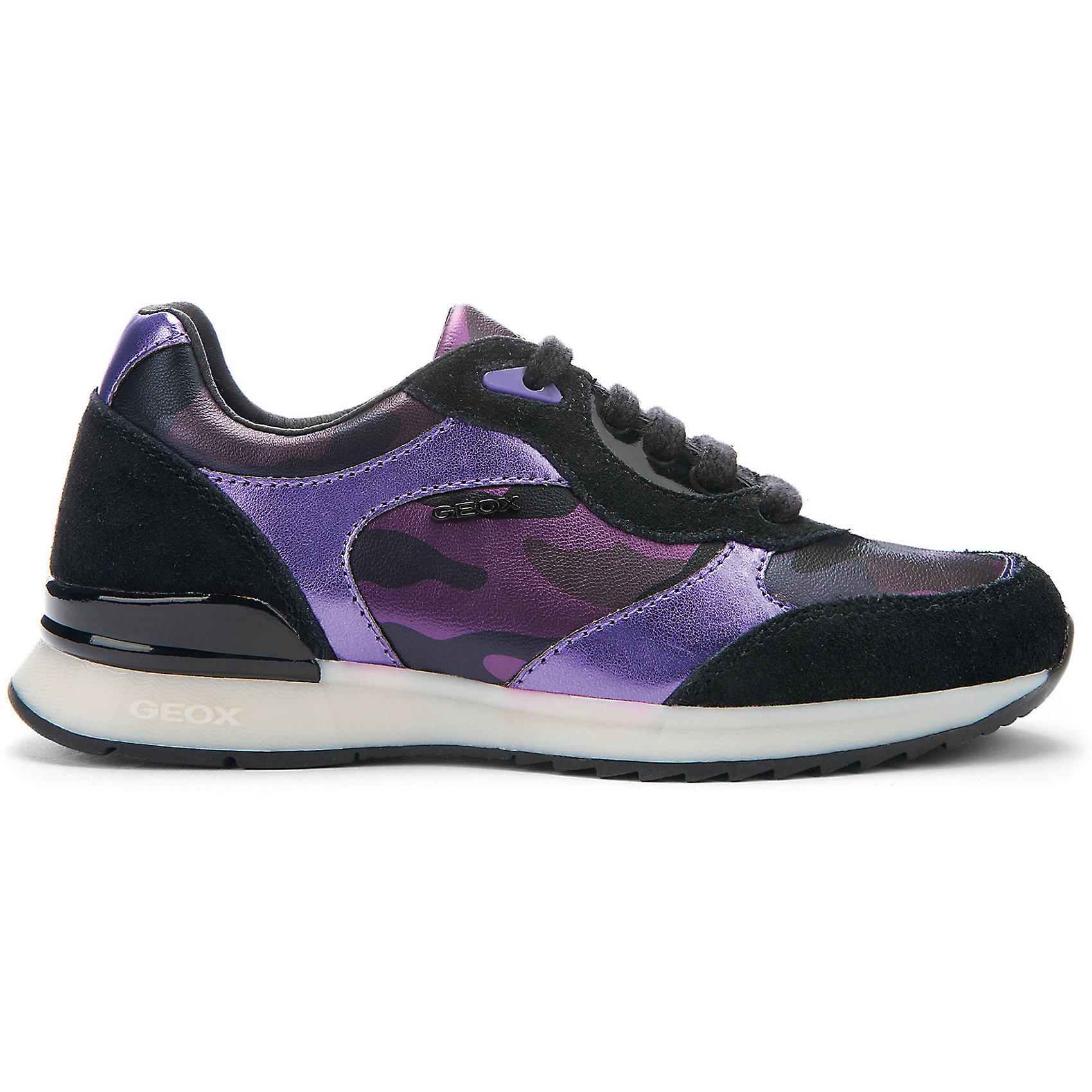 Кроссовки для девочки GEOXКроссовки для девочки от популярной марки GEOX.<br><br>Стильные кроссовки сделаны по уникальной технологии. <br>Производитель обуви GEOX разработал специальную дышащую подошву, которая не пропускает влагу внутрь, а также высокотехнологичную стельку. Кроссовки свободно пропускают к ноге кислород благодаря технологии Respira, что очень важно при активном движении. <br><br>Отличительные особенности модели:<br><br>- цвет: фиолетово-черный;<br>- стильный дизайн;<br>- гибкая водоотталкивающая подошва с дышащей мембраной;<br>- мягкий и легкий верх;<br>- дополнительная защита пятки и пальцев;<br>- эргономичная форма;<br>- удобная шнуровка;<br>- комфортное облегание;<br>- ударопрочная антибактериальная стелька;<br>- верх обуви и подкладка сделаны без использования хрома.<br><br>Дополнительная информация:<br><br>Материал:<br>верх - 42% кожа;<br>подошва - 58% синтетический материал (100% полиуретан);<br>стелька - 79% текстиль (сетка - 100% полиэстер), 21% синтетический материал (100% полиуретан).<br><br>Кроссовки для девочки GEOX (Геокс) можно купить в нашем магазине.<br><br>Ширина мм: 250<br>Глубина мм: 150<br>Высота мм: 150<br>Вес г: 250<br>Цвет: фиолетовый<br>Возраст от месяцев: 120<br>Возраст до месяцев: 132<br>Пол: Женский<br>Возраст: Детский<br>Размер: 34,38,39,31,32,33,35,36,37<br>SKU: 4178306