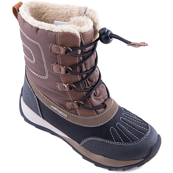 Сапоги GeoxСноубутсы<br>Сапоги GEOX (ГЕОКС)<br>Сапоги от GEOX (ГЕОКС), выполненные из искусственной кожи и прочного текстиля, идеально подходят для холодной погоды. Плотная мягкая подкладка из искусственного меха согревает чувствительные детские ноги. Текстильная стелька улучшает тепловое сопротивление в холодных условиях, повышая температуру внутри обуви. Влага не застаивается в обуви, благодаря чему создается идеальный микроклимат, который держит ноги теплыми и сухими, и позволяет им дышать естественно. Колодка соответствует анатомическим особенностям строения детской стопы. Качественная амортизация снижает нагрузку на суставы. Запатентованная гибкая перфорированная подошва со специальной микропористой мембраной обеспечивает естественное дыхание обуви, не пропускает воду, не скользит. Модель имеет усиленный мыс и функциональную шнуровку.<br><br>Дополнительная информация:<br><br>- Сезон: зима<br>- Цвет: черный, коричневый<br>- Материал верха: искусственная кожа, текстиль<br>- Внутренний материал: искусственный мех<br>- Материал стельки: текстиль<br>- Материал подошвы: резина<br>- Тип застежки: шнуровка<br>- Высота голенища/задника: 13,5 см.<br>- Технология Amphibiox<br>- Материалы и продукция прошли специальную проверку T?V S?D, на отсутствие веществ, опасных для здоровья покупателей<br><br>Сапоги GEOX (ГЕОКС) можно купить в нашем интернет-магазине.<br><br>Ширина мм: 257<br>Глубина мм: 180<br>Высота мм: 130<br>Вес г: 420<br>Цвет: коричневый<br>Возраст от месяцев: 60<br>Возраст до месяцев: 72<br>Пол: Унисекс<br>Возраст: Детский<br>Размер: 27,28,29,28,37,38,36,35,33,31,30,32,34,29,27<br>SKU: 4178420