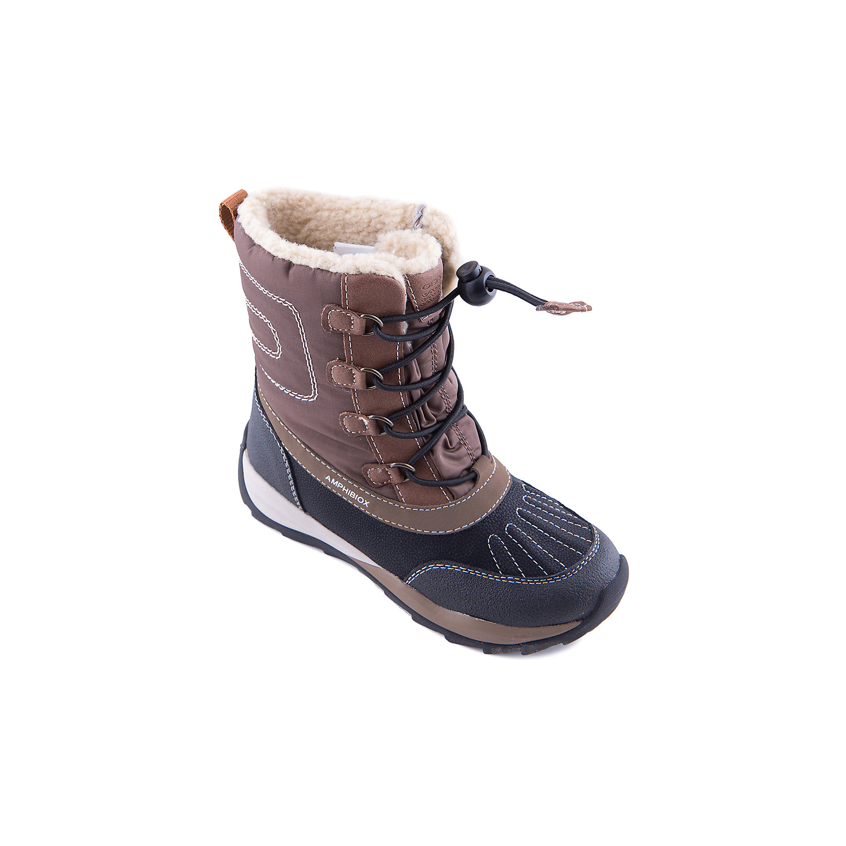 Сноубутсы для мальчика GeoxСноубутсы<br>Полусапоги GEOX (ГЕОКС)<br>Полусапоги от GEOX (ГЕОКС), выполненные из искусственной кожи и прочного текстиля, идеально подходят для холодной погоды. Плотная мягкая подкладка из искусственного меха согревает чувствительные детские ноги. Текстильная стелька улучшает тепловое сопротивление в холодных условиях, повышая температуру внутри обуви. Влага не застаивается в обуви, благодаря чему создается идеальный микроклимат, который держит ноги теплыми и сухими, и позволяет им дышать естественно. Колодка соответствует анатомическим особенностям строения детской стопы. Качественная амортизация снижает нагрузку на суставы. Запатентованная гибкая перфорированная подошва со специальной микропористой мембраной обеспечивает естественное дыхание обуви, не пропускает воду, не скользит. Модель имеет усиленный мыс и функциональную шнуровку.<br><br>Дополнительная информация:<br><br>- Сезон: зима<br>- Цвет: черный, коричневый<br>- Материал верха: искусственная кожа, текстиль<br>- Внутренний материал: искусственный мех<br>- Материал стельки: текстиль<br>- Материал подошвы: резина<br>- Тип застежки: шнуровка<br>- Высота голенища/задника: 13,5 см.<br>- Технология Amphibiox<br>- Материалы и продукция прошли специальную проверку T?V S?D, на отсутствие веществ, опасных для здоровья покупателей<br><br>Полусапоги GEOX (ГЕОКС) можно купить в нашем интернет-магазине.<br><br>Ширина мм: 257<br>Глубина мм: 180<br>Высота мм: 130<br>Вес г: 420<br>Цвет: коричневый<br>Возраст от месяцев: 36<br>Возраст до месяцев: 48<br>Пол: Мужской<br>Возраст: Детский<br>Размер: 27,27,34,32,30,31,33,35,36,38,37,28,29,28,29<br>SKU: 4178420