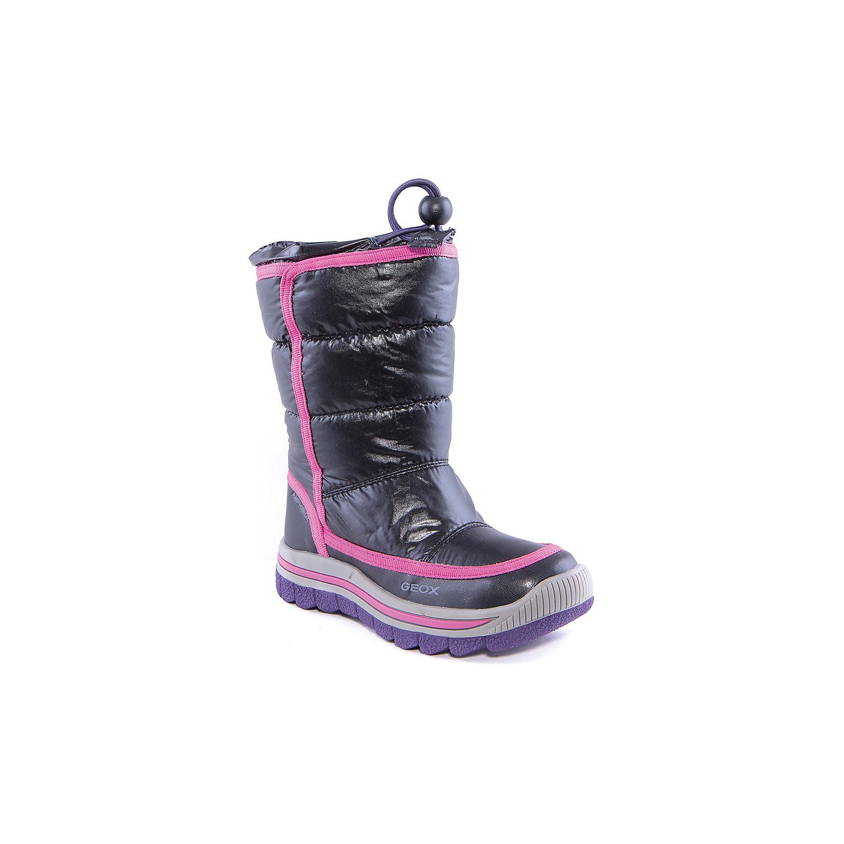 Сапоги для девочки GEOXСапоги для девочки от популярной марки GEOX.<br><br>Стильные дутые сапоги сделаны по уникальной технологии. <br>Производитель обуви GEOX разработал специальную дышащую подошву, которая не пропускает влагу внутрь, а также высокотехнологичную стельку. При производстве этих полусапожек была задействована технология Amphibiox, делающая обувь непромокаемой. <br><br>Отличительные особенности модели:<br><br>- цвет: черный;<br>- украшены окантовкой цвета фуксия;<br>- гибкая водоотталкивающая подошва с дышащей мембраной;<br>- утепленная стелька;<br>- мягкий и легкий верх;<br>- защита пятки и пальцев;<br>- эргономичная форма;<br>- удобная утяжка со стоппером на голенище;<br>- комфортное облегание;<br>- ударопрочная антибактериальная стелька;<br>- защита от промокания - технология Amphibiox;<br>- верх обуви и подкладка сделаны без использования хрома.<br><br>Дополнительная информация:<br><br>- Температурный режим: от - 20° С  до -5° С.<br><br>- Состав:<br><br>материал верха: синтетический материал<br>материал подкладки: текстиль (флис), искусственный мех<br>подошва: резина<br>Сапоги для девочки GEOX (Геокс) можно купить в нашем магазине.<br><br>Ширина мм: 257<br>Глубина мм: 180<br>Высота мм: 130<br>Вес г: 420<br>Цвет: черный<br>Возраст от месяцев: 60<br>Возраст до месяцев: 72<br>Пол: Женский<br>Возраст: Детский<br>Размер: 29,28,30,31,32,33,35,37,38,39,36,34<br>SKU: 4178480