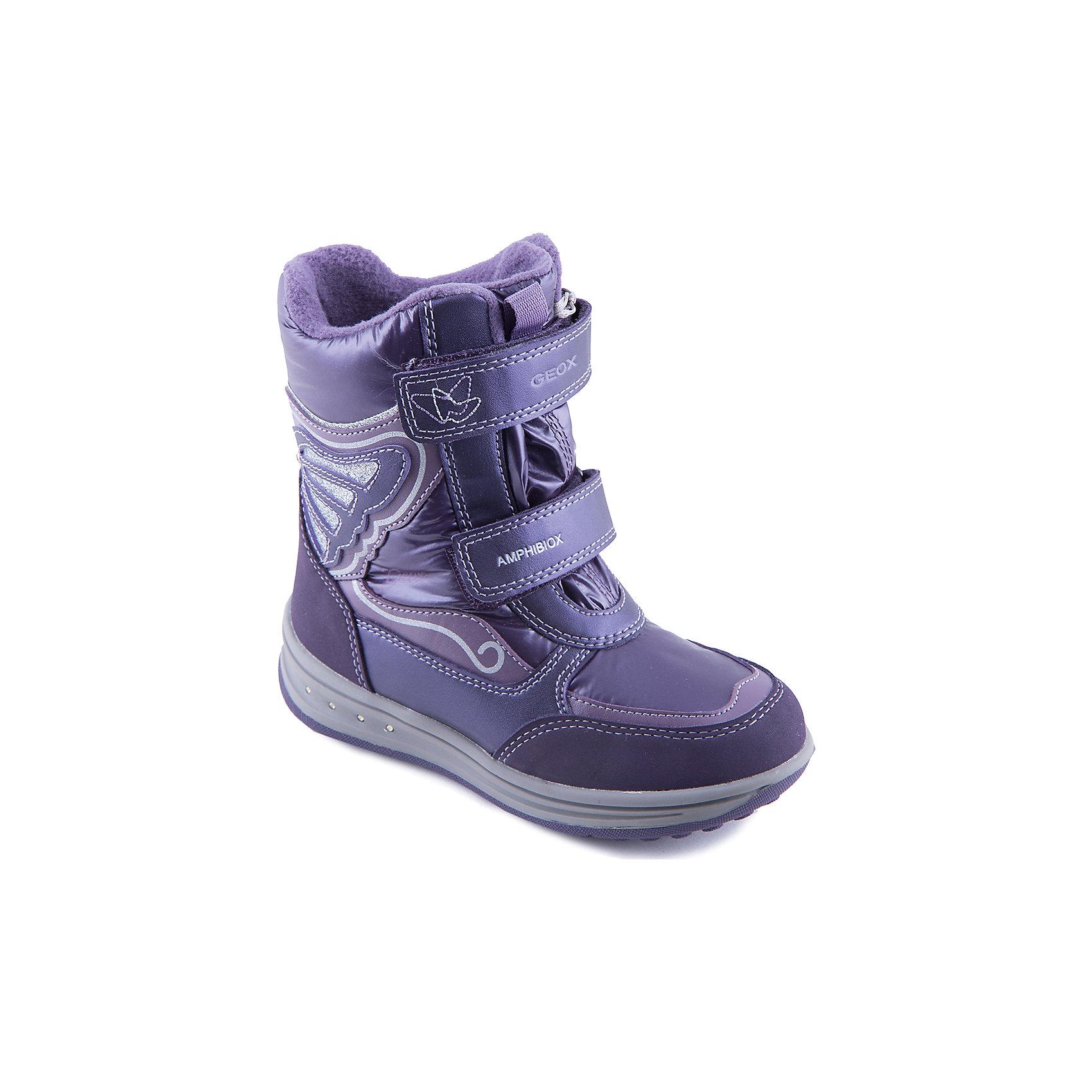 Сапоги для девочки GEOXСтильные сапоги от известной марки выполнены из высококачественных материалов, прекрасно подойдут для холодной погоды. Модель на толстой подошве отлично защищает ноги ребенка от холода. Сапоги застегиваются на липучки, декорированы аппликацией в виде крыла бабочки.<br><br>Дополнительная информация:<br><br>- Теплая подкладка.<br>- Защита от промокания.<br>- Сезон: осень/зима.<br>- Температурный режим: от 0?до -15?.<br>- Тип застежки: липучка. <br><br>Состав:<br>- Верх: искусственная кожа, текстиль. <br>- Подкладка: байка.<br>- Подошва: резина.<br>- Стелька: байка.<br><br>Сапоги для девочки, GEOX (Геокс), можно купить в нашем магазине.<br><br>Ширина мм: 257<br>Глубина мм: 180<br>Высота мм: 130<br>Вес г: 420<br>Цвет: фиолетовый<br>Возраст от месяцев: 84<br>Возраст до месяцев: 96<br>Пол: Женский<br>Возраст: Детский<br>Размер: 34,36,35,30,31,32,28,29,33<br>SKU: 4178559