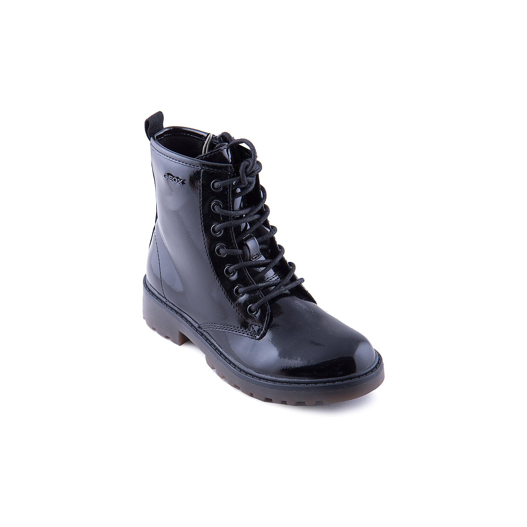 Полусапожки для девочки GEOXПолусапожки для девочки от популярной марки GEOX.<br><br>Черные лаковые полусапожки - стильная и удобная обувь для межсезонья.<br>Производитель обуви GEOX разработал специальную дышащую подошву, которая не пропускает влагу внутрь, а также высокотехнологичную стельку.<br><br>Отличительные особенности модели:<br><br>- цвет: черный;<br>- стильный дизайн;<br>- гибкая водоотталкивающая подошва с дышащей мембраной;<br>- мягкий и легкий верх;<br>- защита пятки и пальцев;<br>- эргономичная форма;<br>- удобная застежка-молния сбоку, шнуровка;<br>- комфортное облегание;<br>- ударопрочная антибактериальная стелька;<br>- верх обуви и подкладка сделаны без использования хрома.<br><br>Дополнительная информация:<br><br>- Температурный режим: от +5° С  до 20° С.<br><br>- Состав:<br><br>материал верха: экокожа<br>материал подкладки: байка<br>подошва: полимер<br>Полусапожки для девочки GEOX (Геокс) можно купить в нашем магазине.<br><br>Ширина мм: 257<br>Глубина мм: 180<br>Высота мм: 130<br>Вес г: 420<br>Цвет: черный<br>Возраст от месяцев: 84<br>Возраст до месяцев: 96<br>Пол: Женский<br>Возраст: Детский<br>Размер: 31,32,33,34,35,36,37,39,38<br>SKU: 4178579